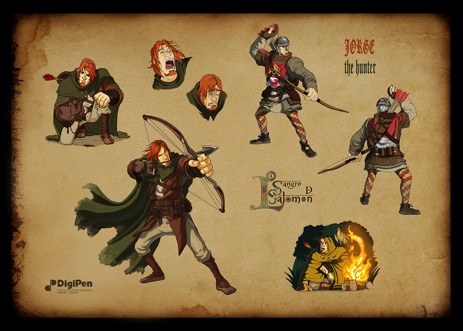 Concept paintings for a red-haired hunter in Sangre de Salomon in various poses, aiming a bow and arrow and crouching