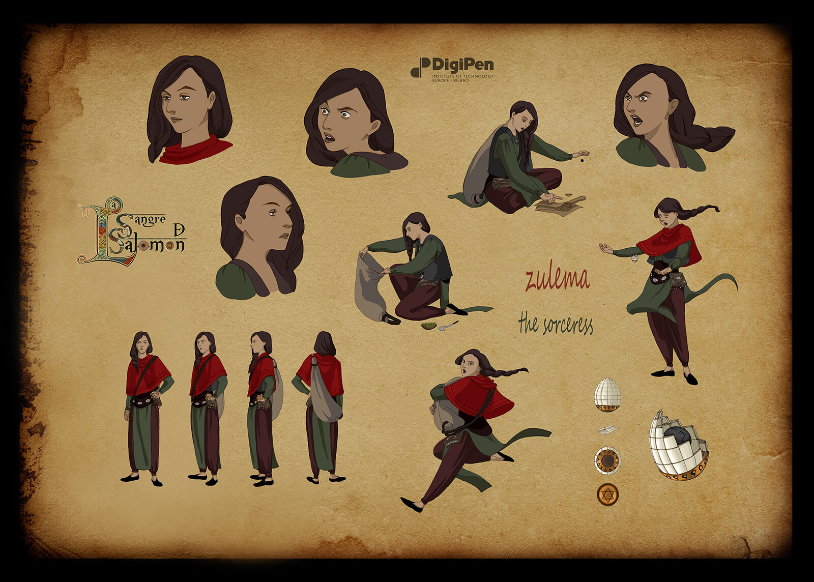 Concept paintings for a brown-haired sorceress in Sangre de Salomon in various poses and facial expressions