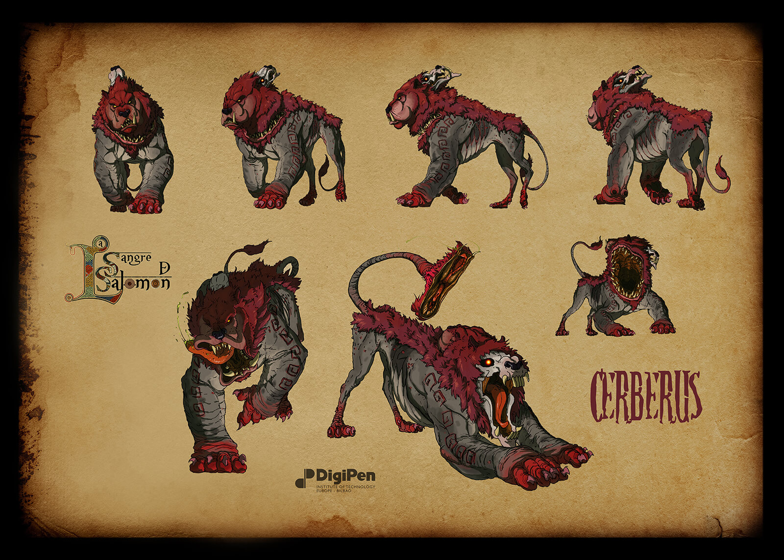 Concept paintings for a red and gray dog- and lion-like monster in various poses such as running or preparing to pounce