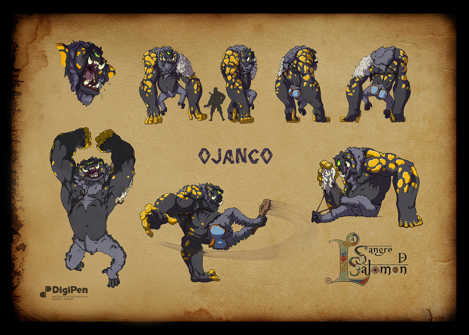Concept paintings for a gray and black ape-like cyclops monster named Ojanco in various poses such as pouncing and kicking