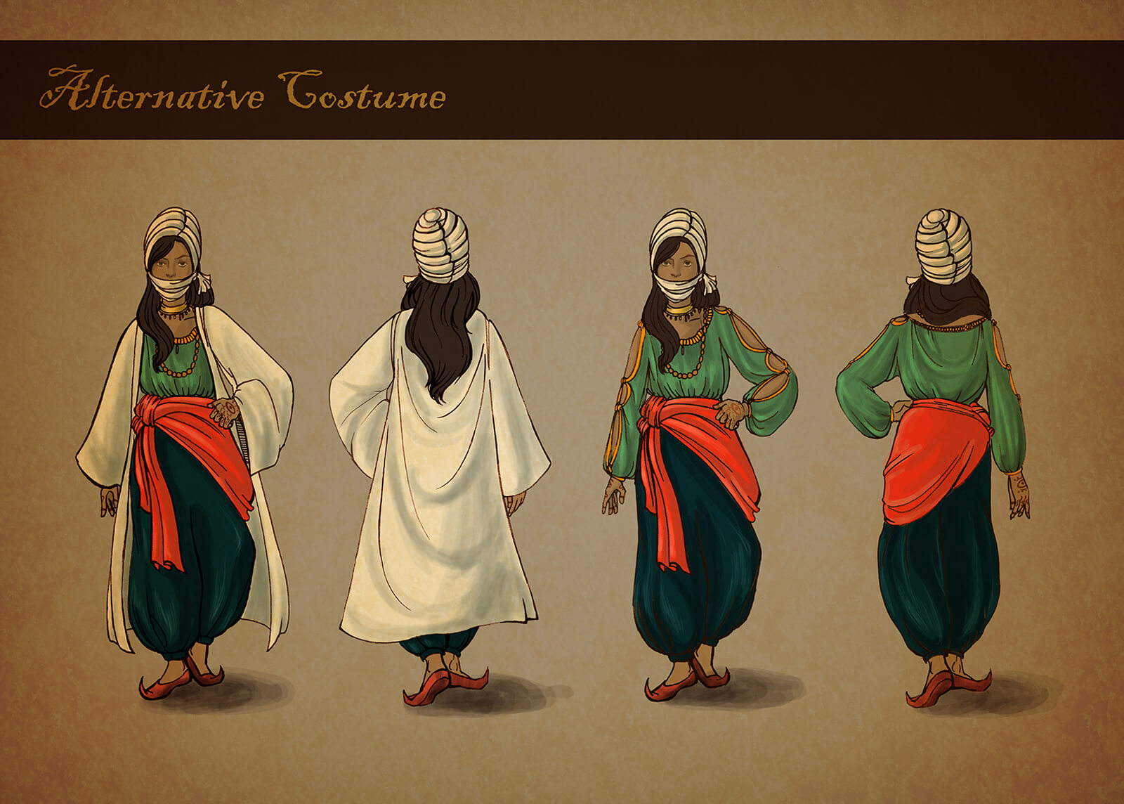 Concept painting of costume for Sangre de Salomon, a red, green, and blue medieval Arabic wear from different angles