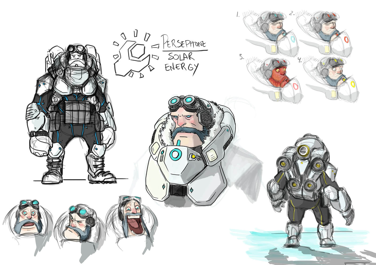 Color sketches of a bearded man in futuristic armor and goggles in various facial expressions from the film Level 1457