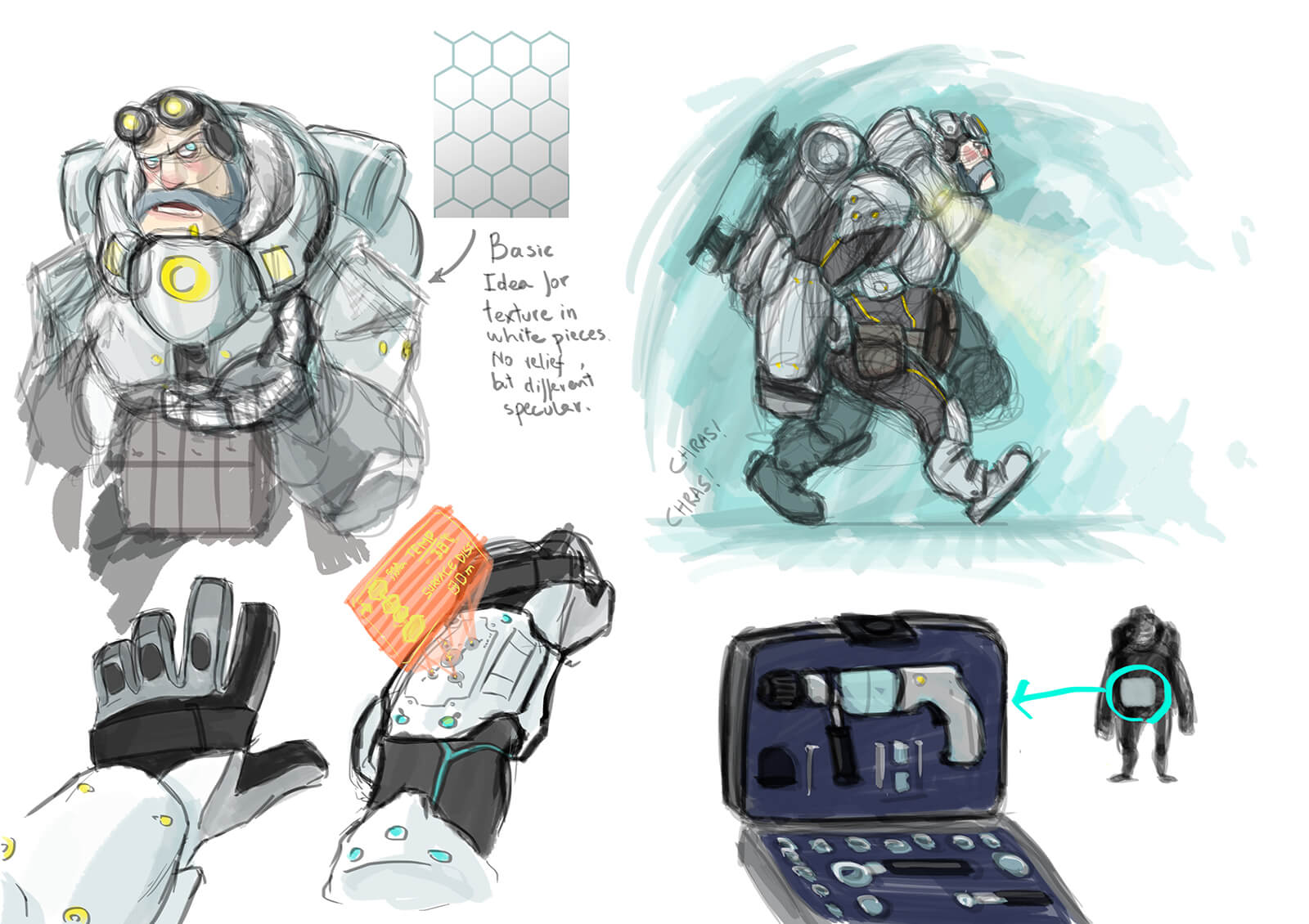 Color sketches of a bearded man in futuristic armor and goggles with details of various equipment on the armor