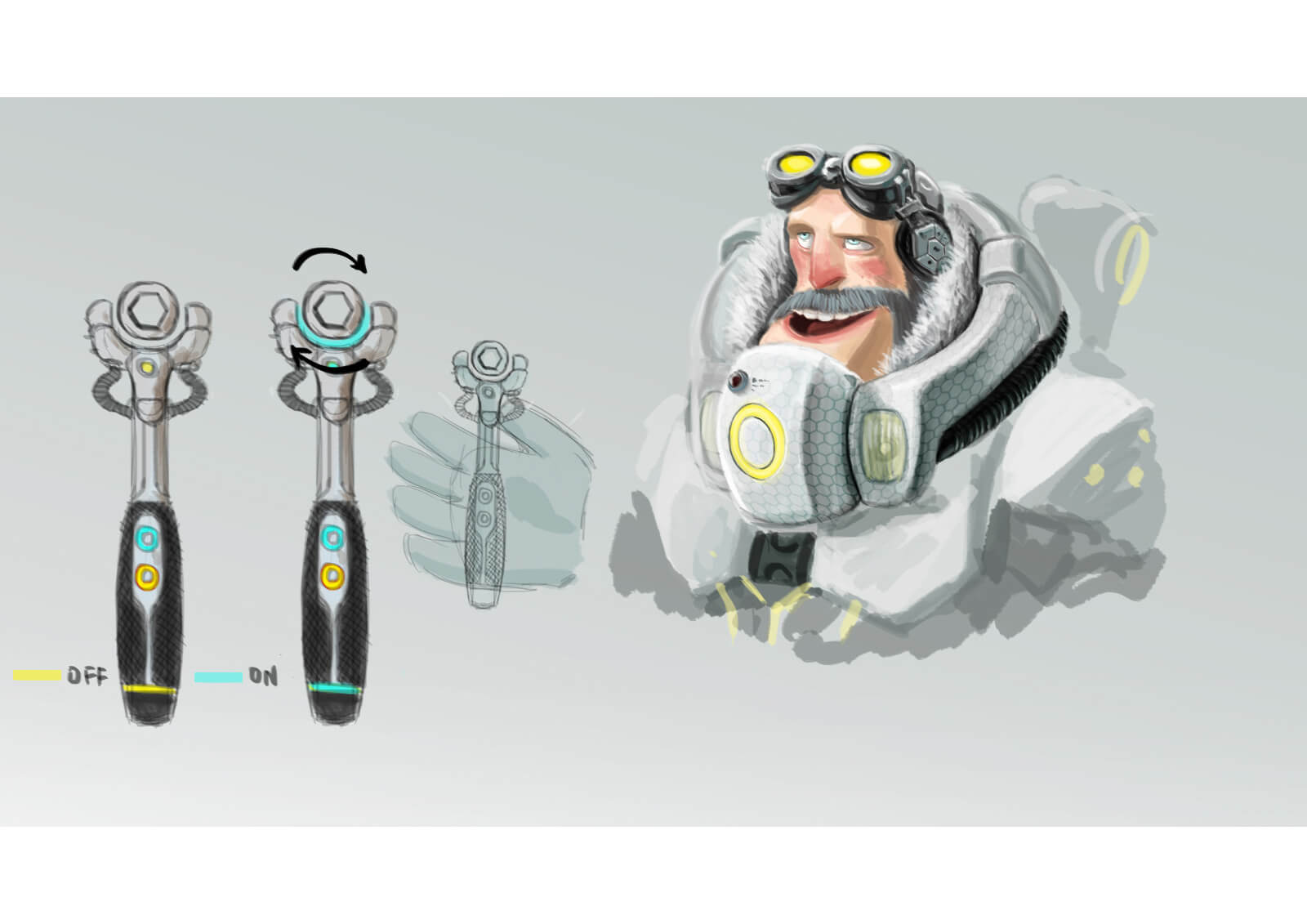 Detailed color sketch of a futuristic wrench accented with aqua and yellow lights, held by a bearded man in white armor