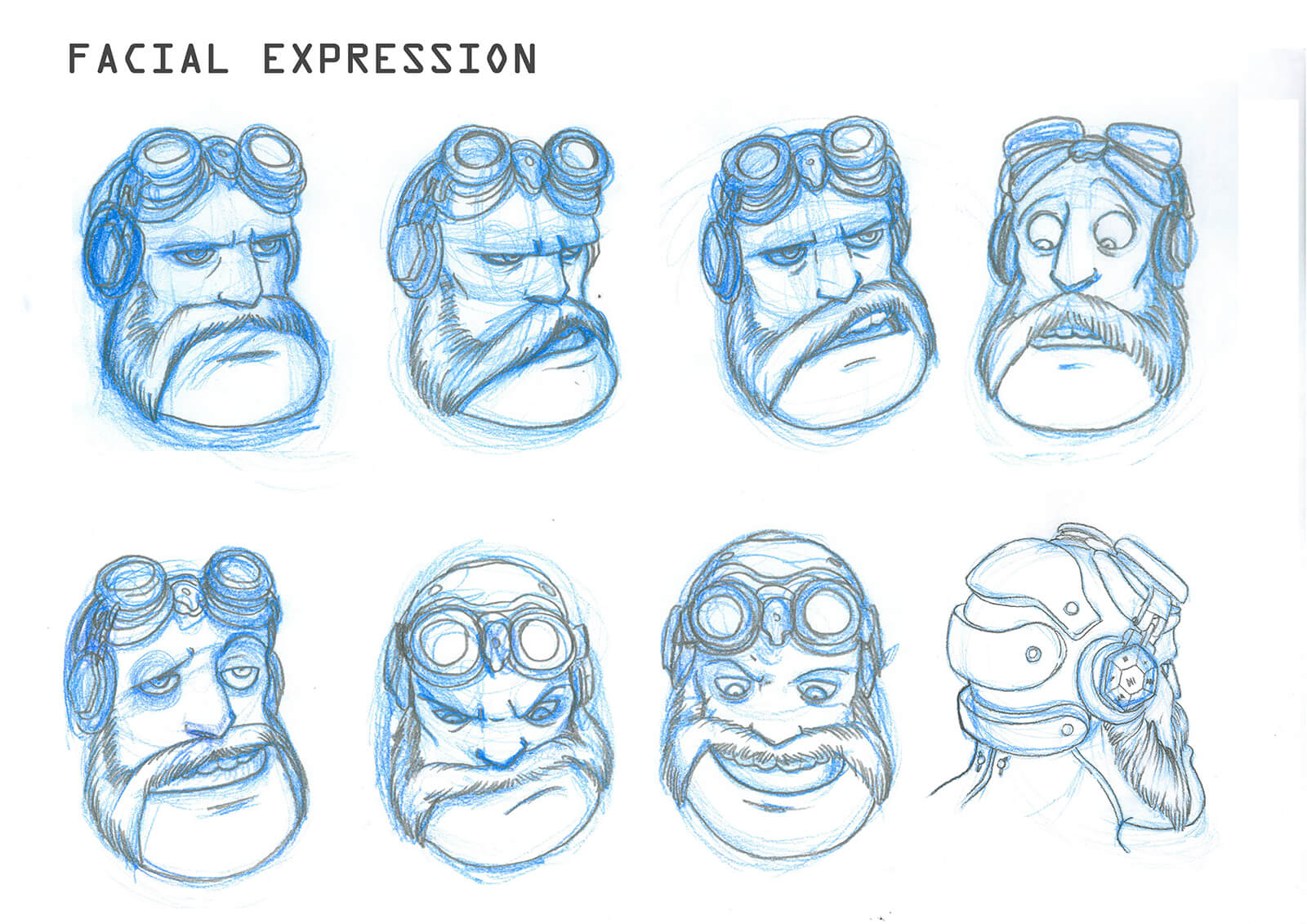 Blue and black sketches of facial expressions of a bearded man with goggles, depicting surprise and frustration among others