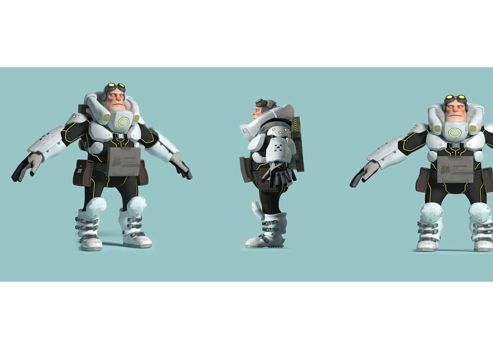 3D models from the film Level 1457 of a man in goggles and black and white futuristic armor from the front and behind