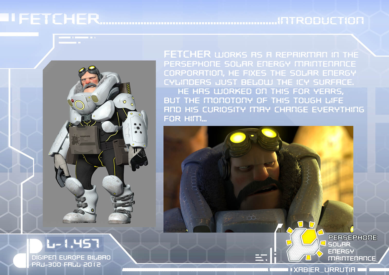 Character and story introduction slide from the film Level 1457 of Fetcher, a bearded man in white and black futuristic armor