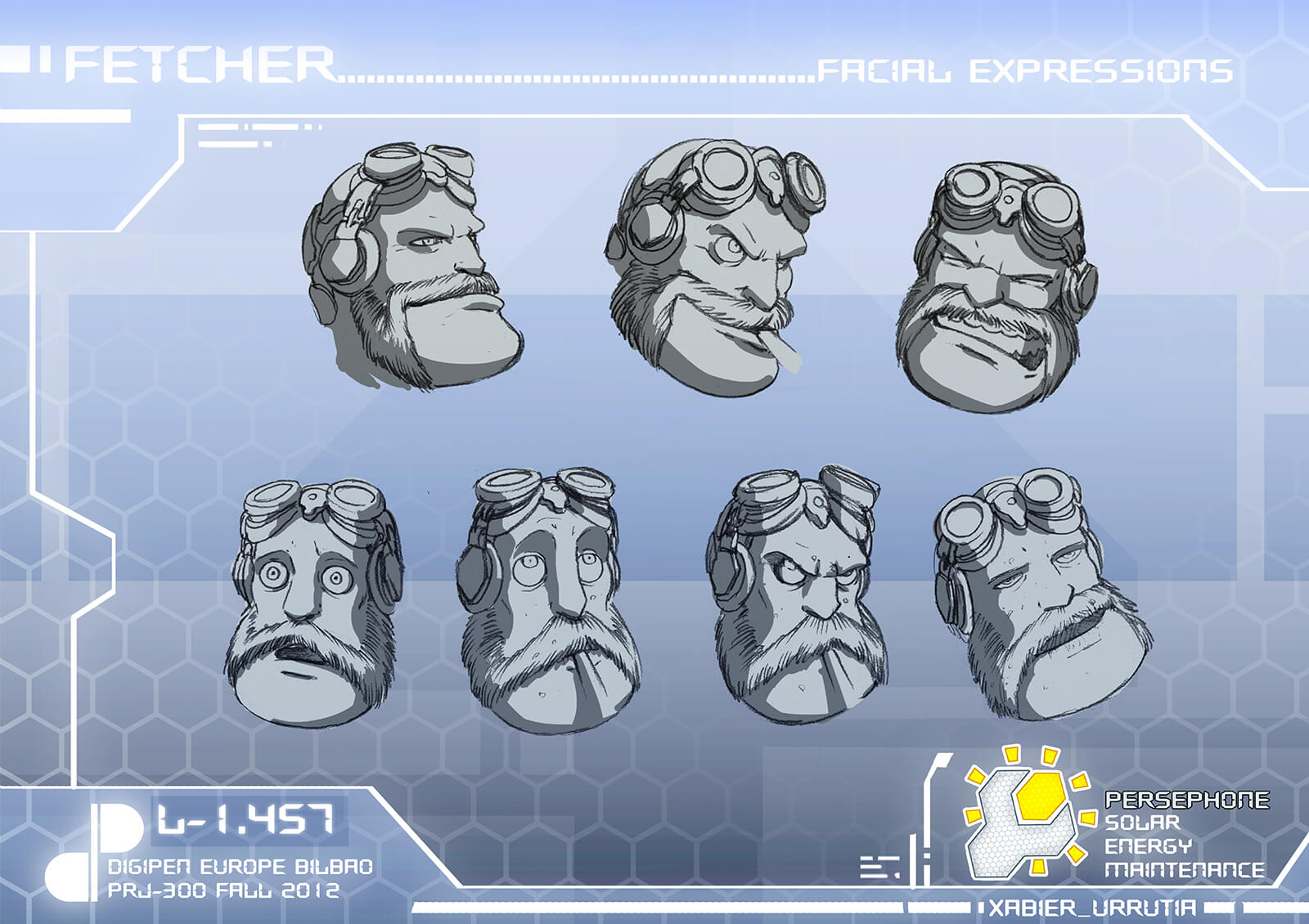 Various facial expressions of main character Fetcher