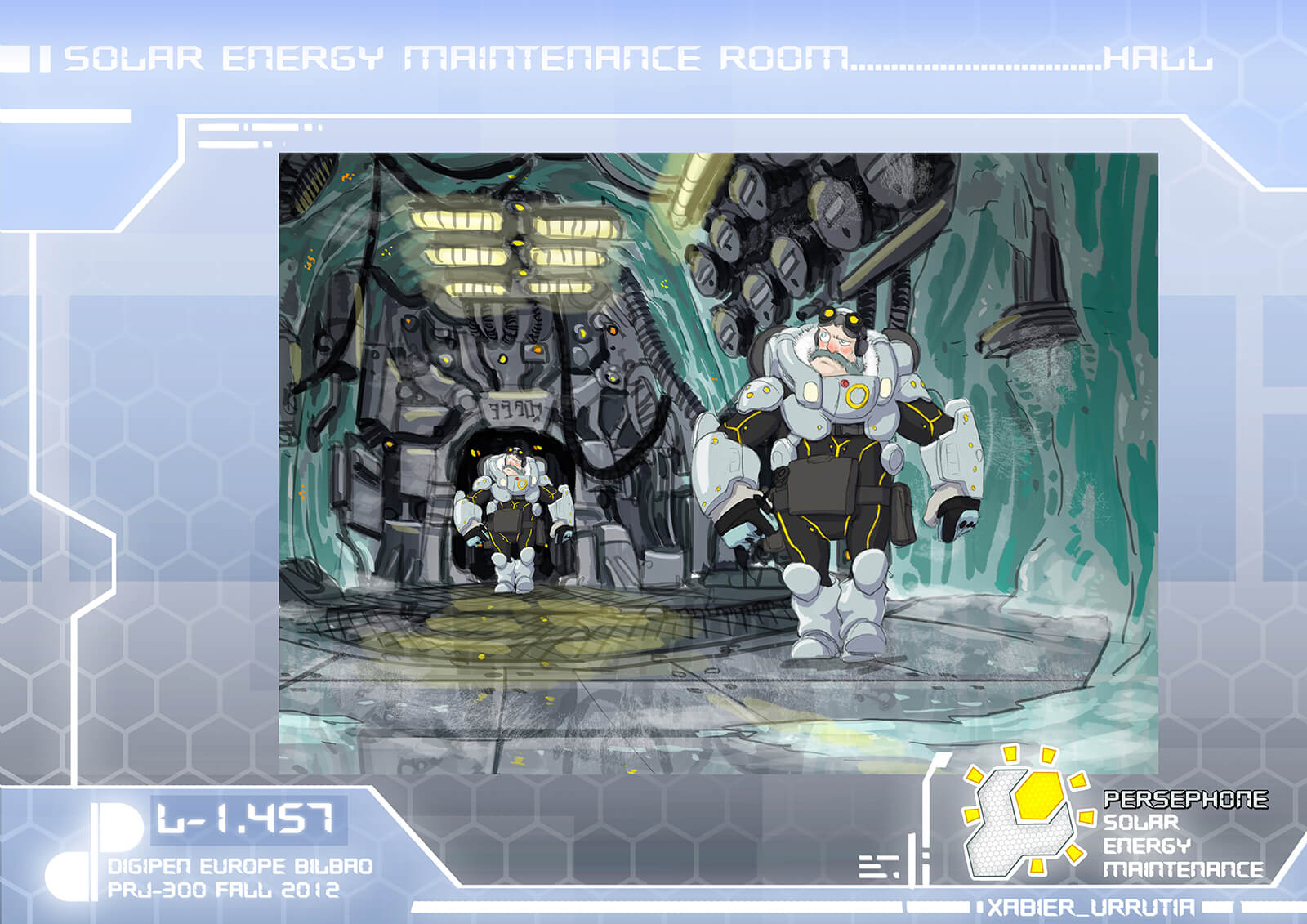 Concept painting of a bearded man in white futuristic armor walking down an icy cave lined with machinery and lighting