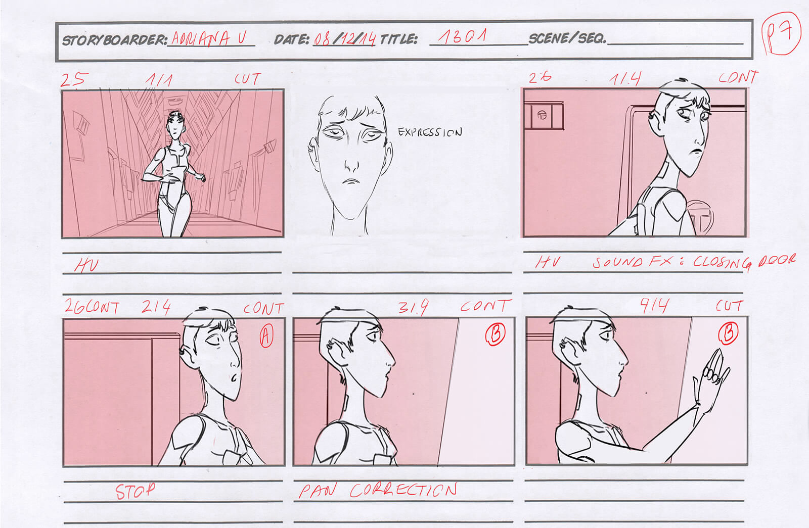 Red and white sketched storyboard for the film REA depicting the action from the beginning of the story to the end