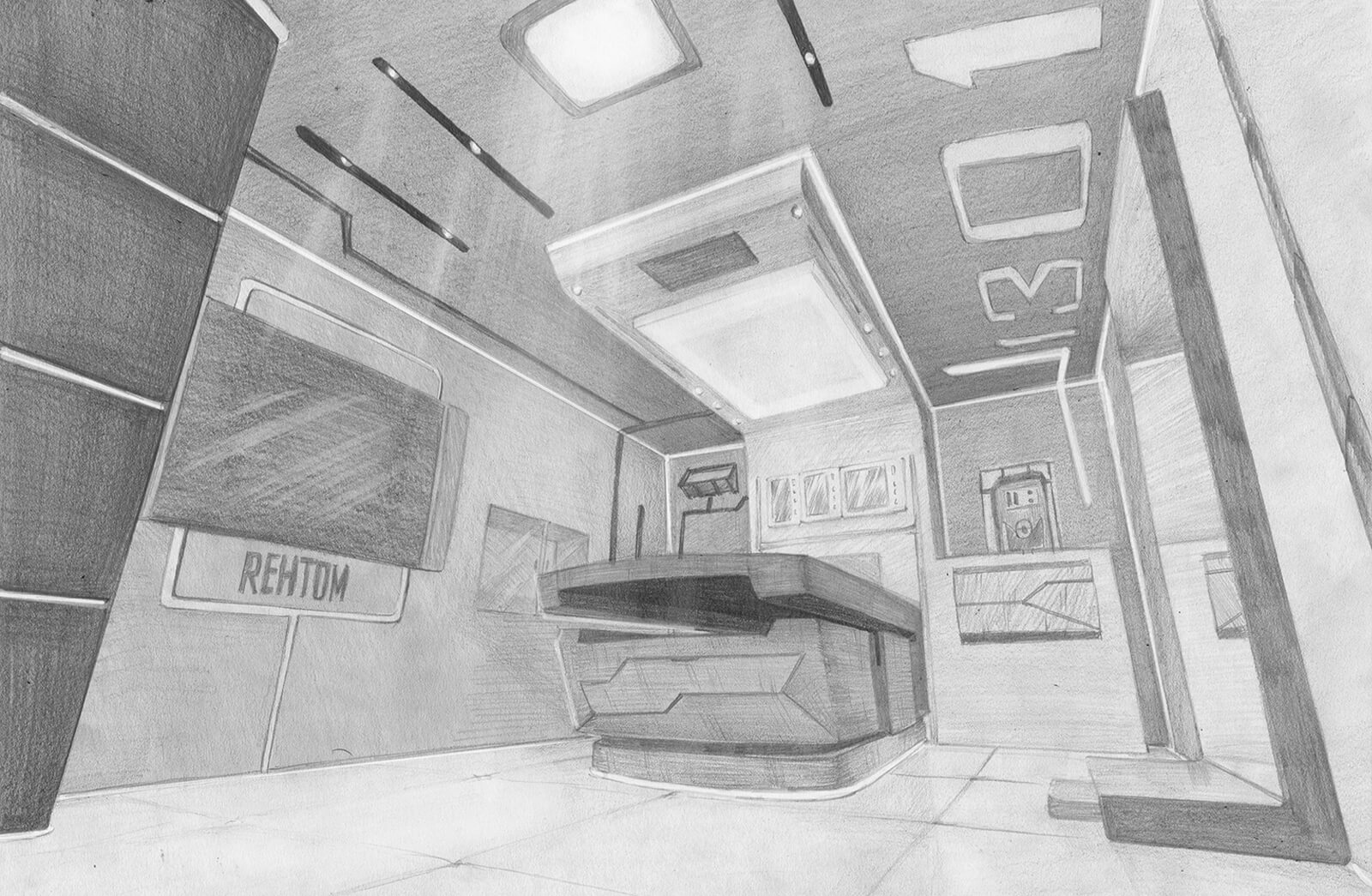 Black-and-white drawing of a futuristic medical bay with an examining table, wall displays and lighting