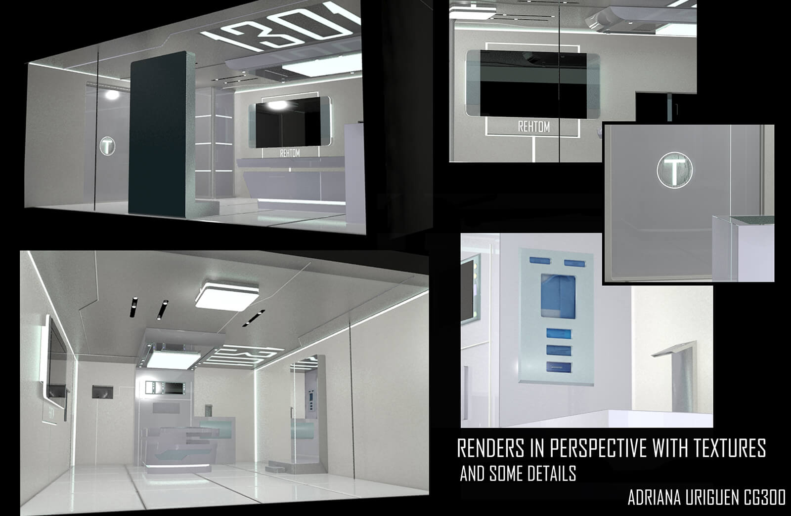 Renders of a futuristic medical bay with textures