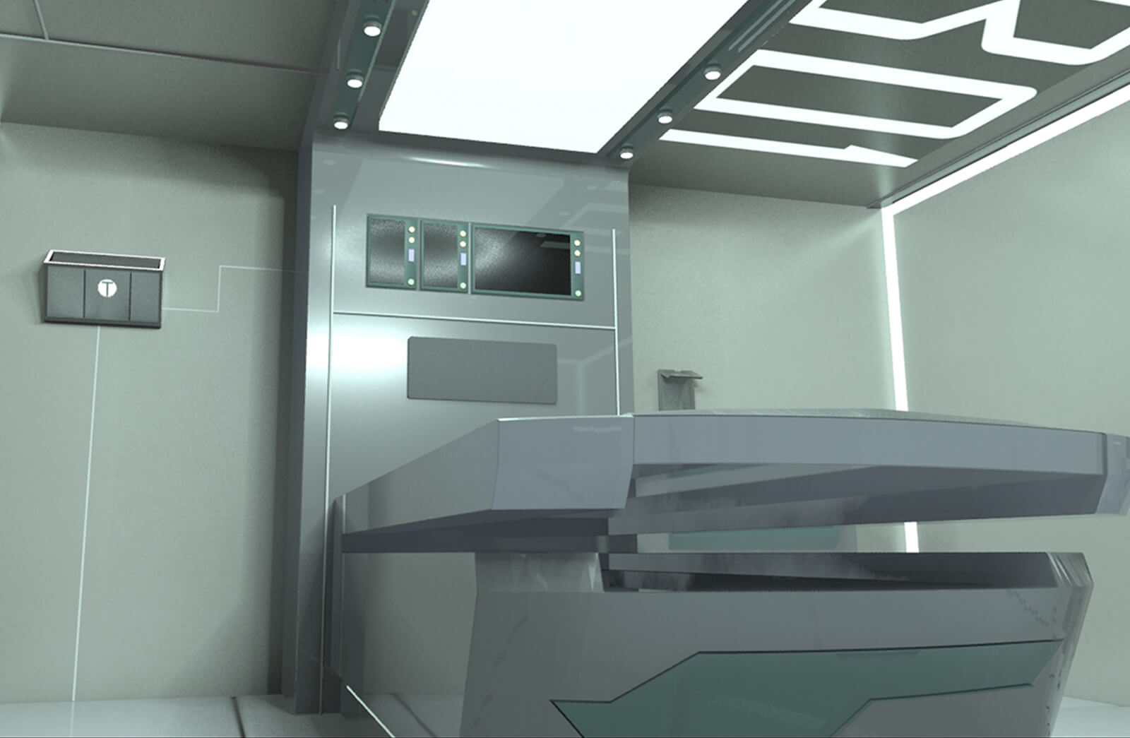 Render of a futuristic medical bay with an examining table, wall displays and lighting