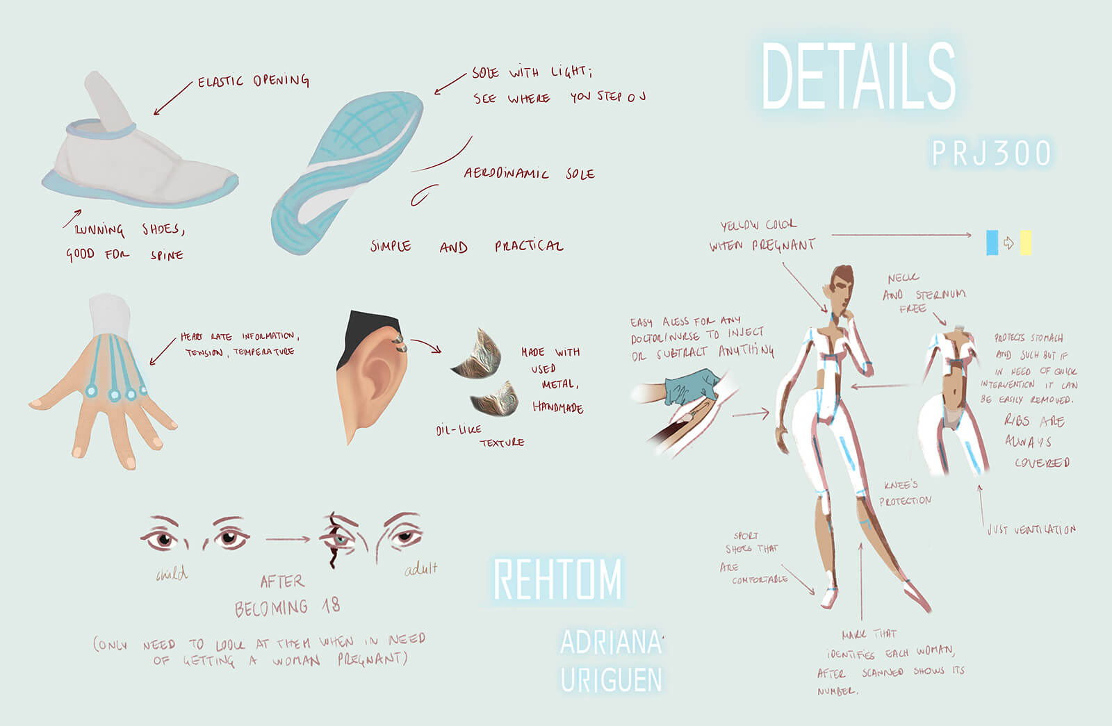 Color details for a futuristic character in the film REA, from shoes, earrings, accent lighting, and scar