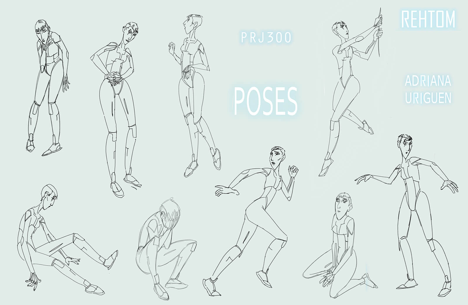 Black-and-white sketches of poses for a tall, thin woman, including running, sitting, and kneeling among others