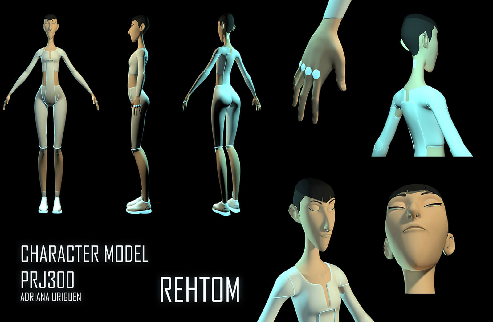 3D character model of a tall, thin woman standing in futuristic white clothing from different angles