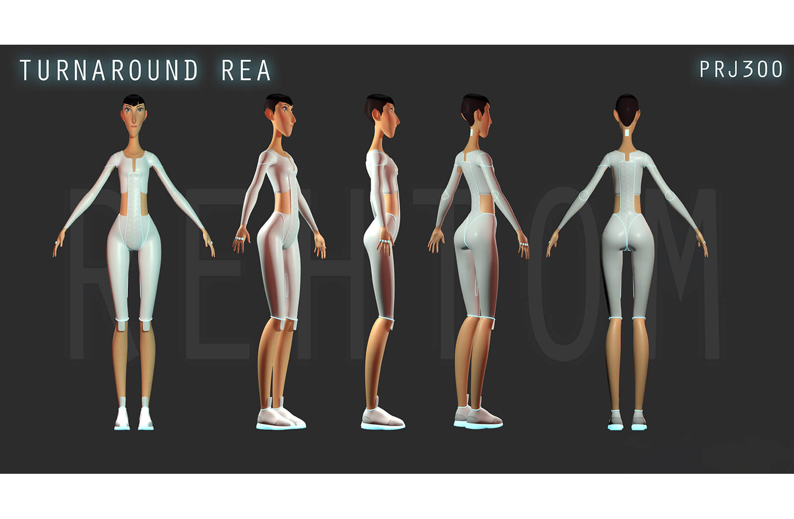 Turnaround 3D character model of a tall, thin woman standing in futuristic white clothing from different angles