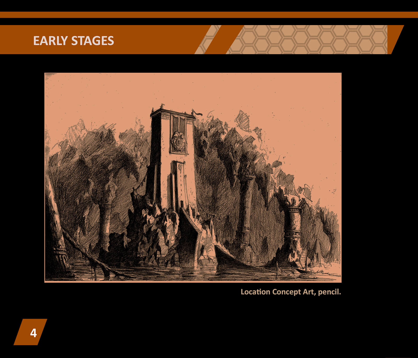 Location concept art, a black-and-white drawing of a boxy white tower erected on a small rocky outcropping in a cavern