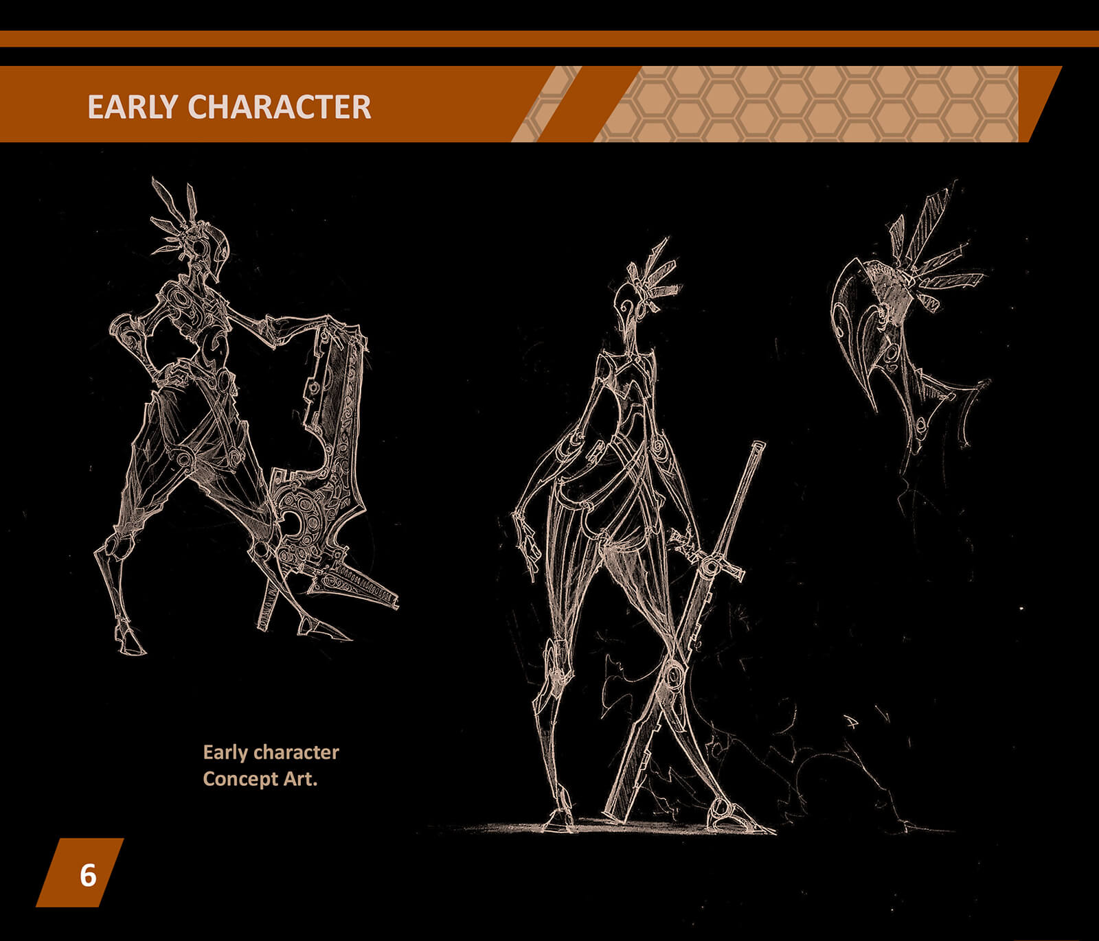 Character design concept sketches, a stylized warrior in ornate armor holds elaborate melee weapons