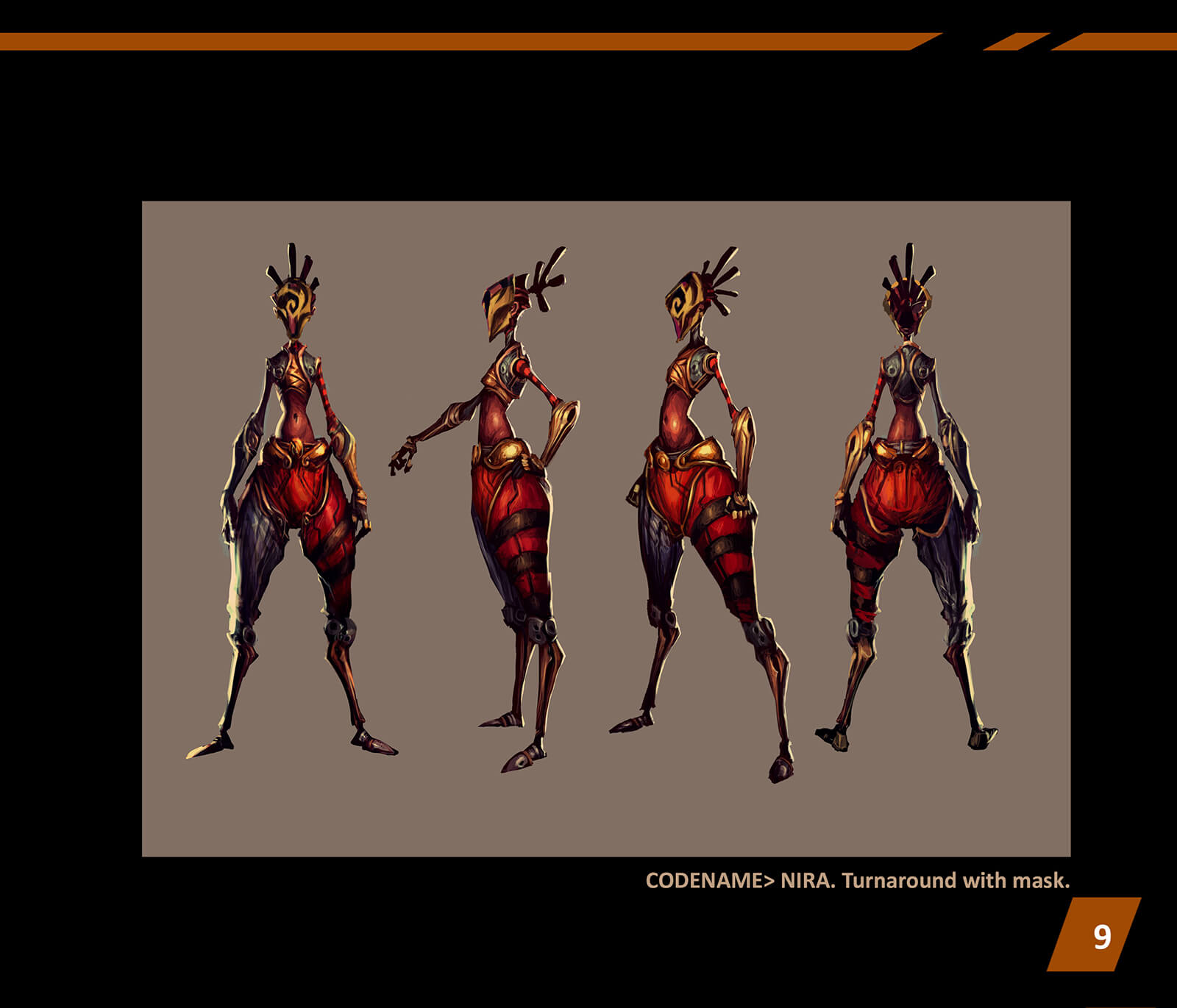 Character design turnaround of an abstractly proportioned woman standing in ornate red and black battle gear and face mask