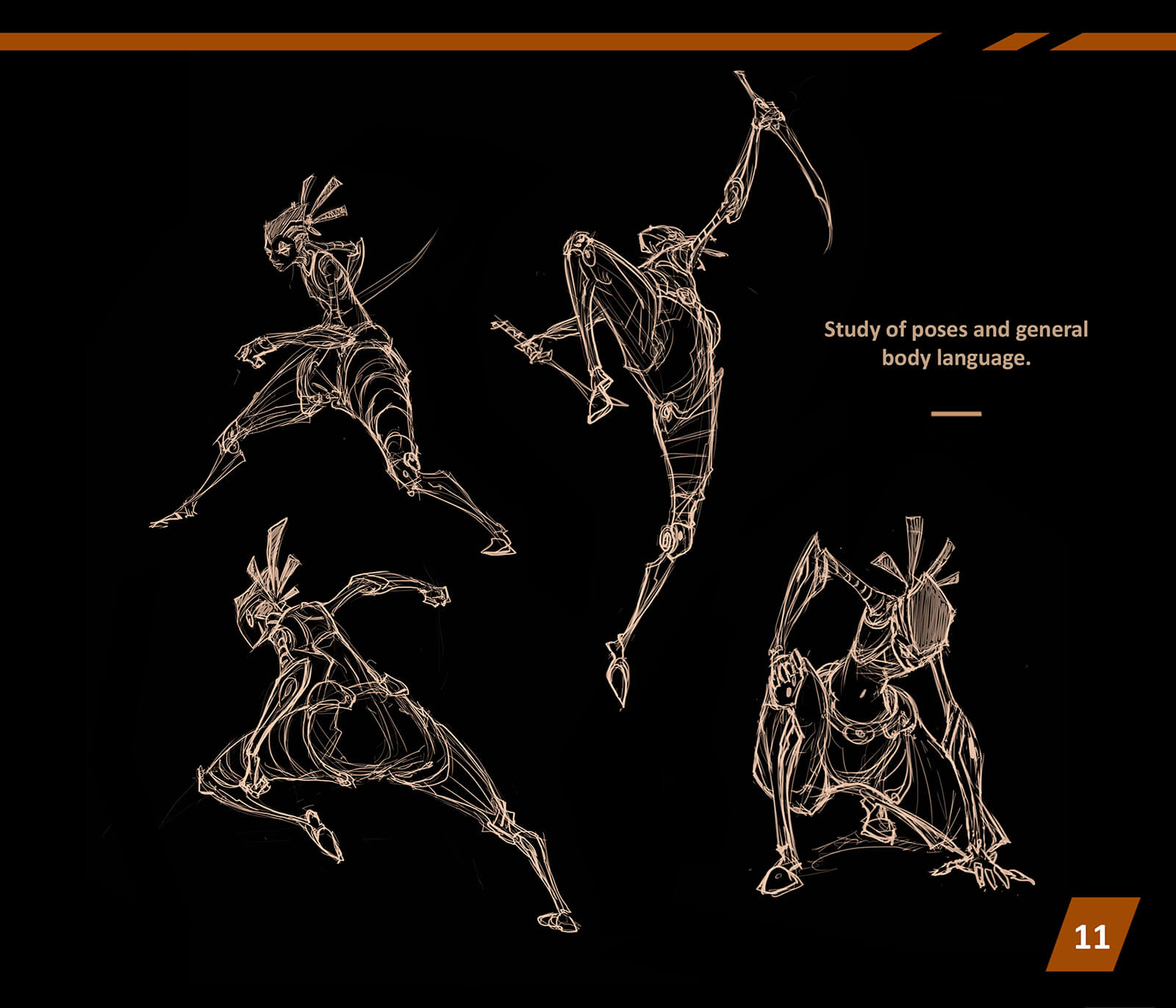 Sketches of a character in various mid-battle poses, bracing, crouching, and flying through the air with swords drawn