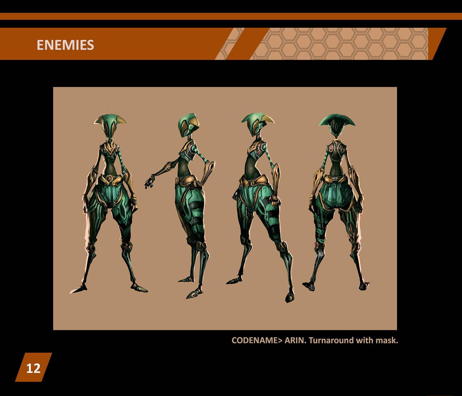 Character design turnaround of an abstractly proportioned woman standing in ornate emerald battle gear and face mask