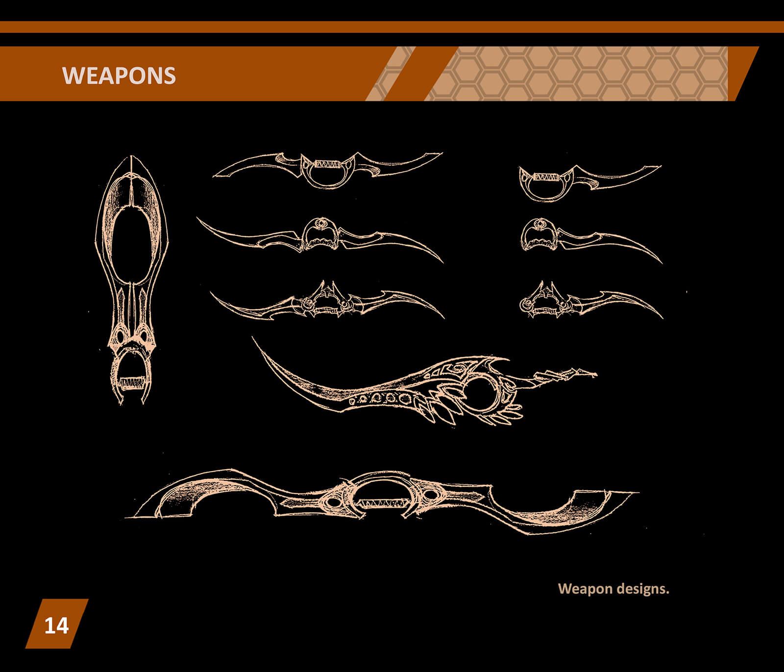 Black and white concept sketches of elaborate, curved swords and daggers