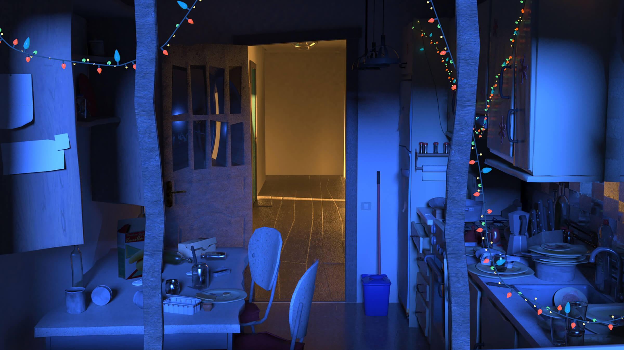A darkened, messy kitchen decorated with festive lights. A door opened to a lit hallway is in the background.