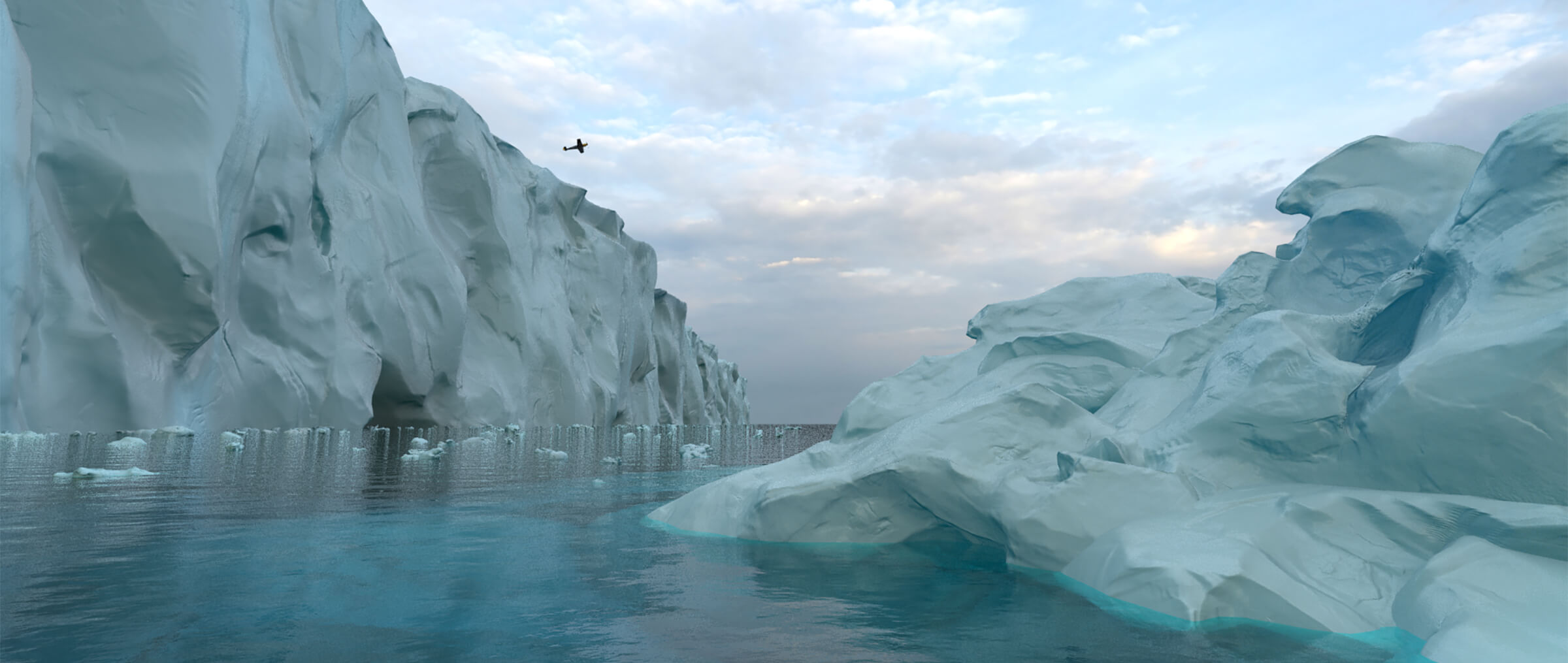 Amorphous glaciers in an arctic environment. Ice chunks flow in the water between them while a plane flies overhead.