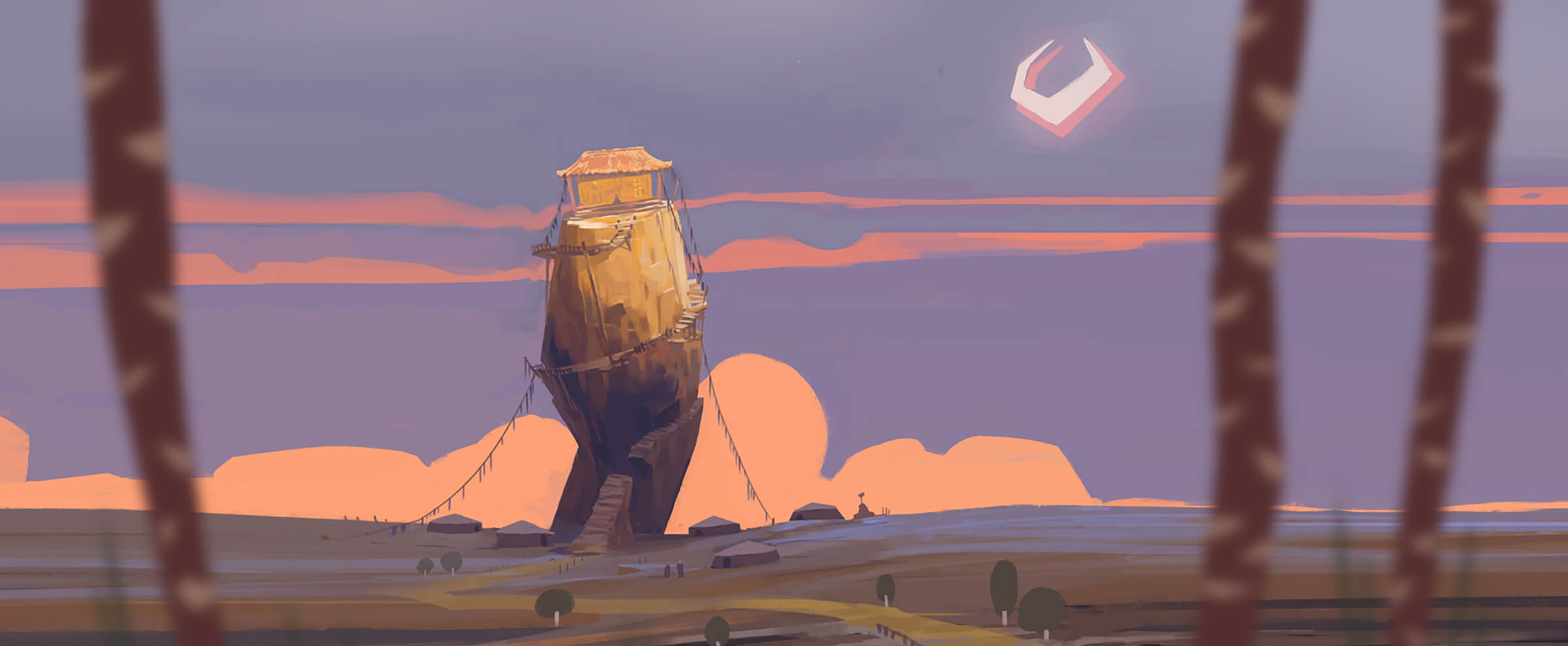 Stylized desert-like landscape in pastel colors. A ramshackle hut sits atop a tilted rock outcropping surrounded by tents.