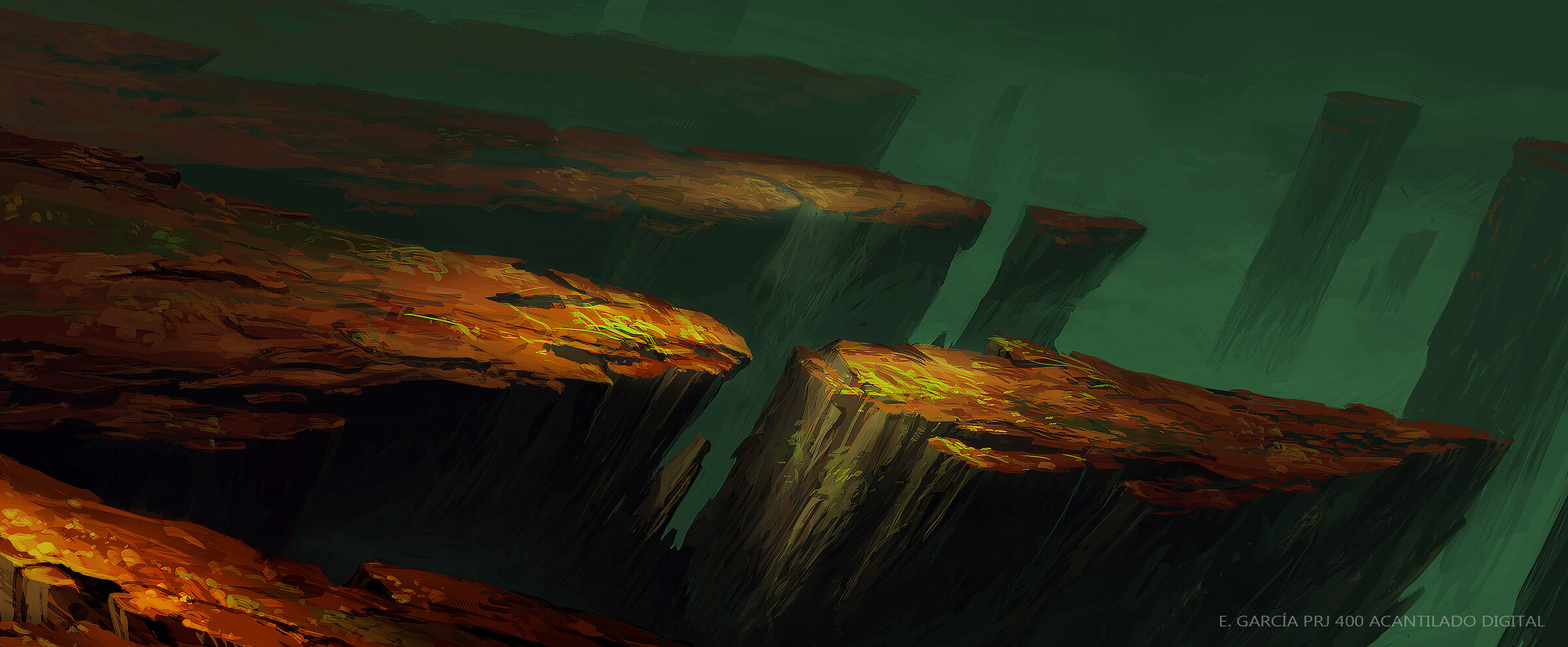 Jagged, red cliffs in an alien landscape jut ominously into a dark green sky.
