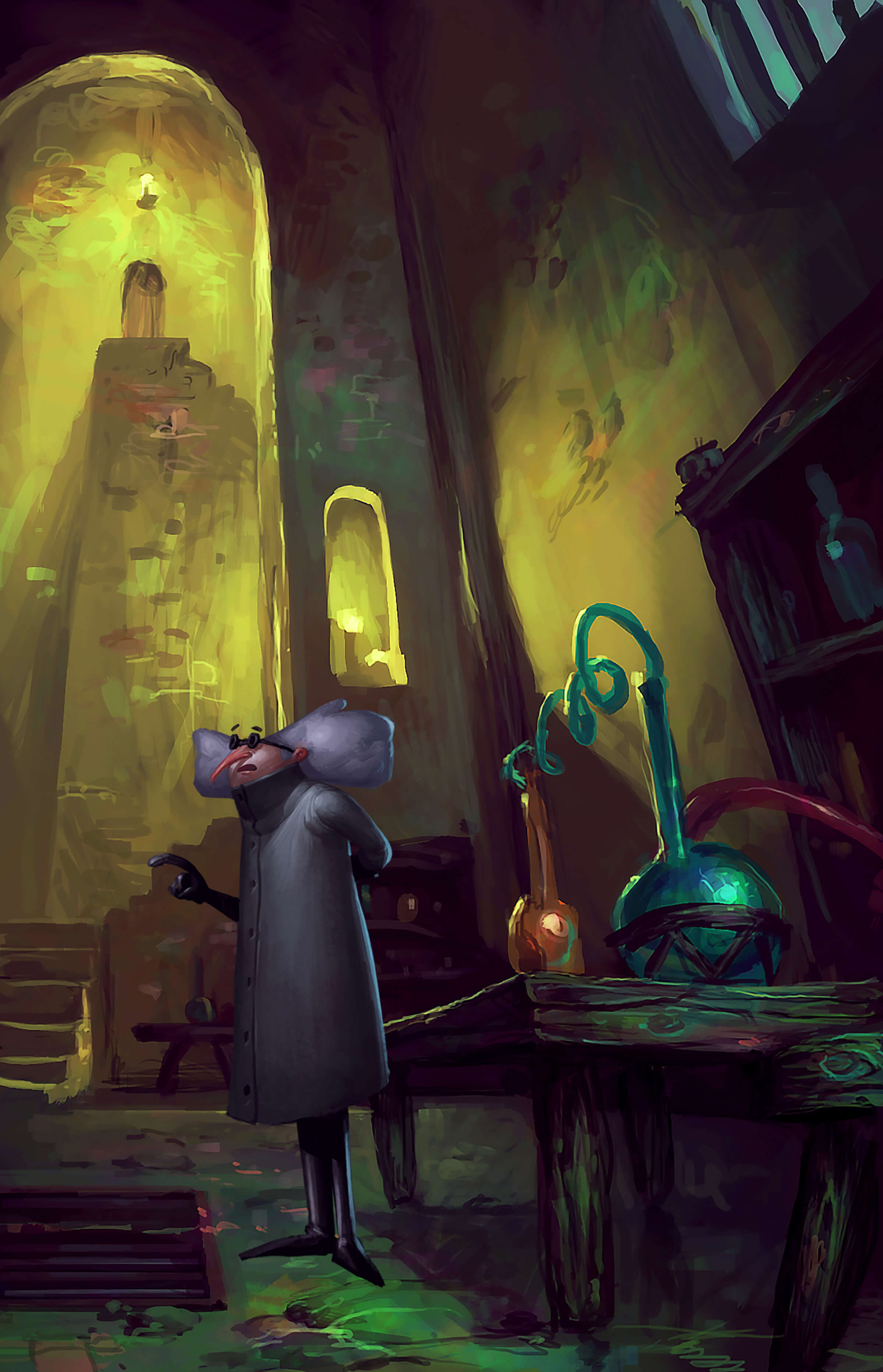 A gray-haired mad scientist character stands next to a chemical experiment in a high-ceilinged room in a stone castle.