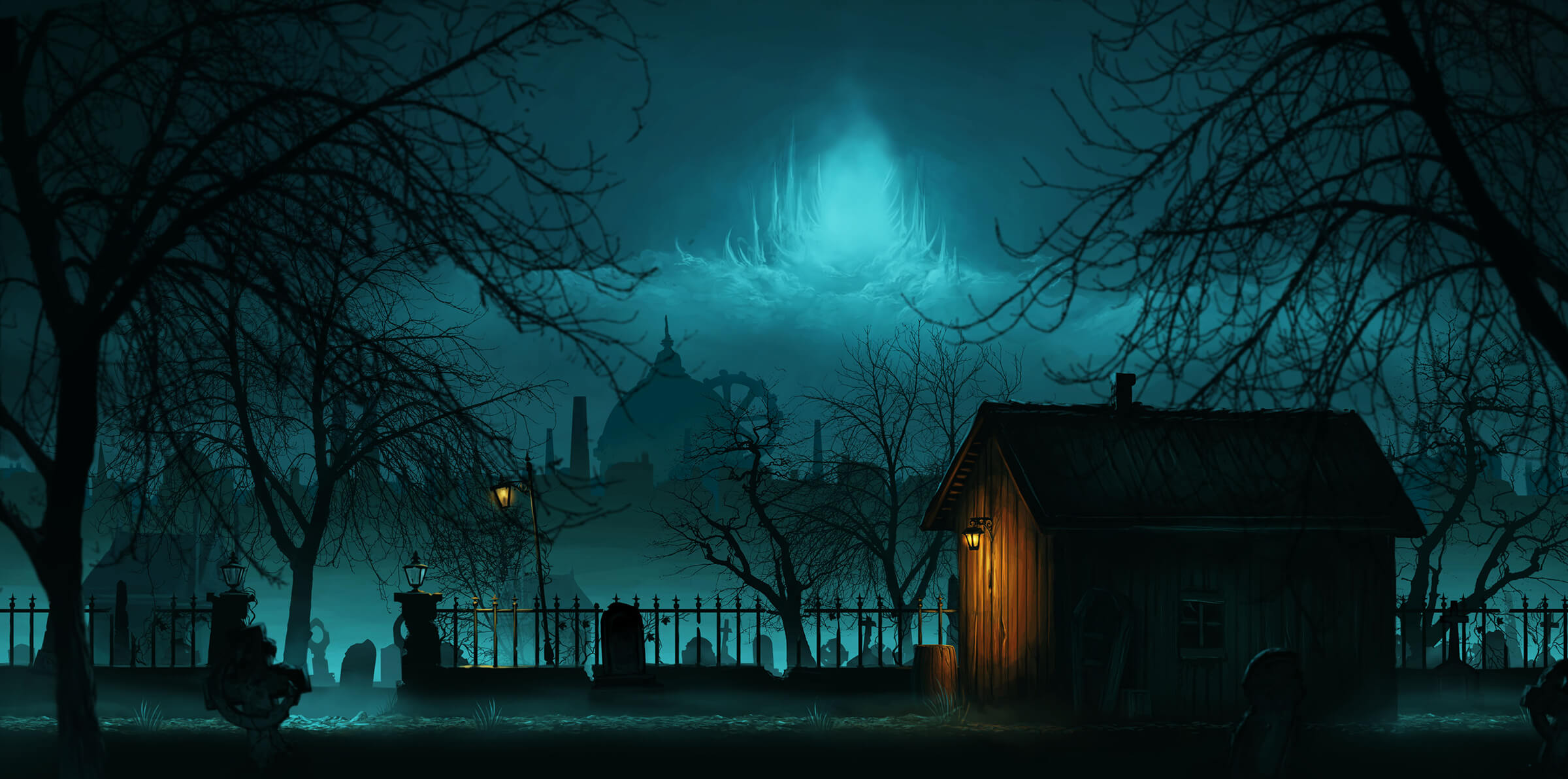 A wooden shack stands in a graveyard at night. The cityscape and sky in the distance are lit with ethereal blue light.