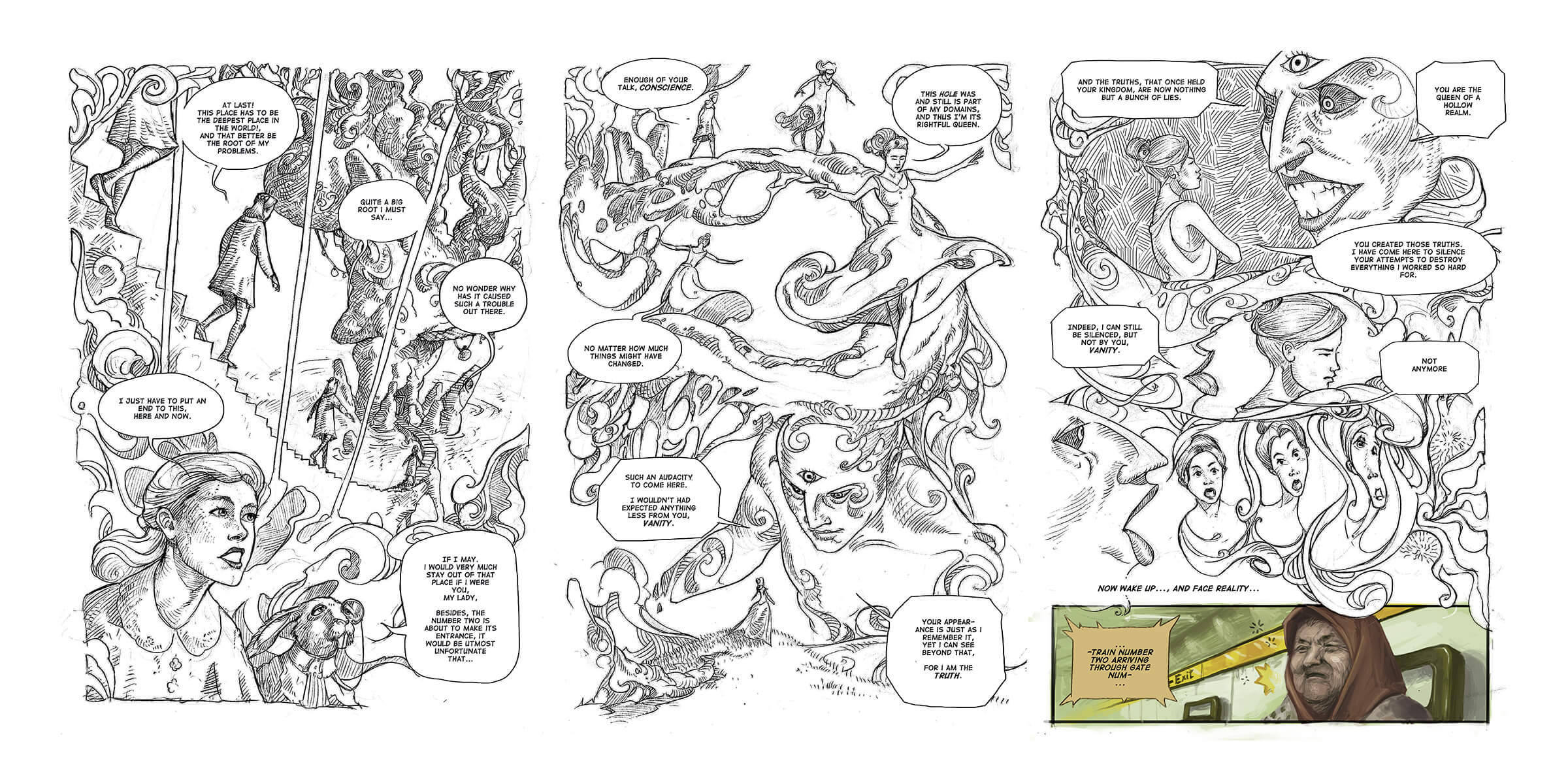 Three panels of a comic, mostly in black-and-white, of a woman exploring a dream realm only to awake to her reality.