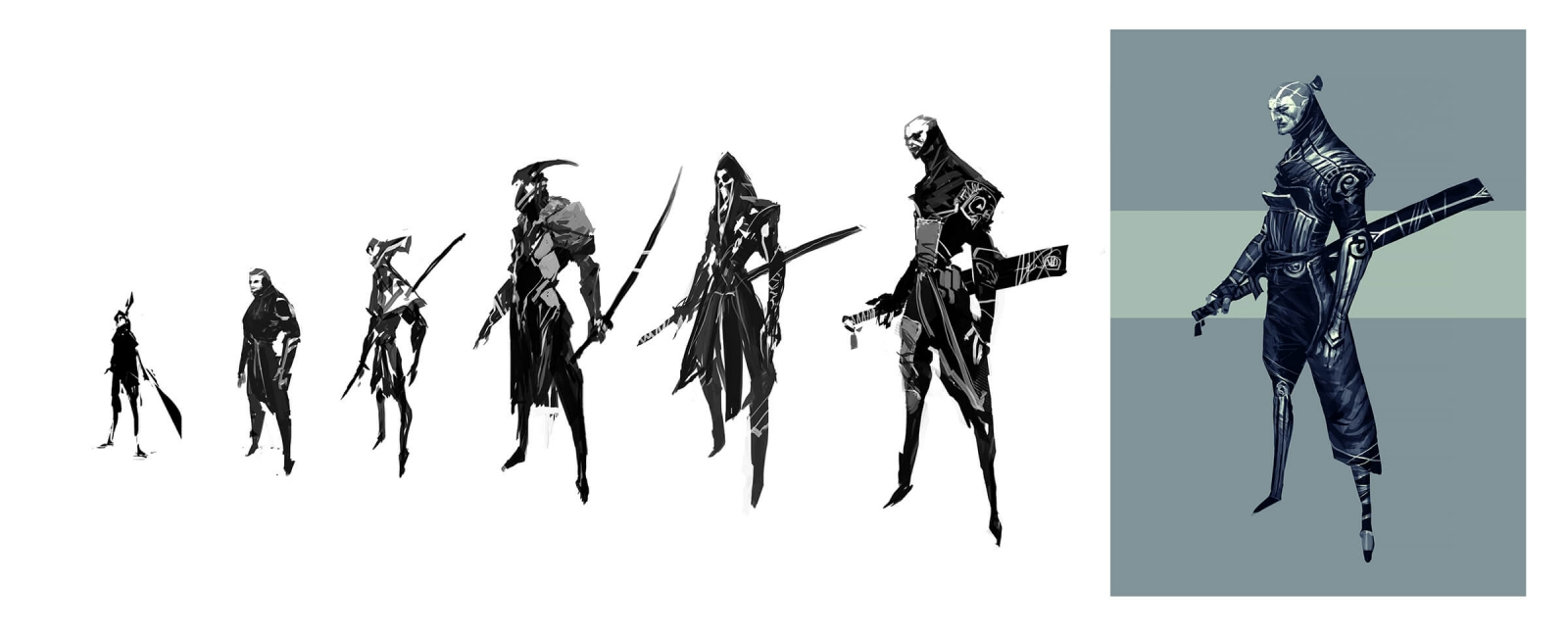 Black-and-white development art of warriors standing in ornate battlegear looking from the side.