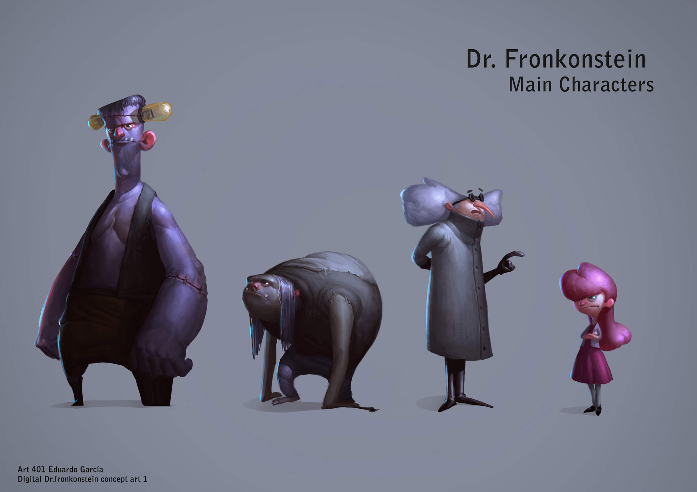 Finished paintings of characters, including a tall monster, hunched-over assistant, mad scientist, and a young, modern girl.