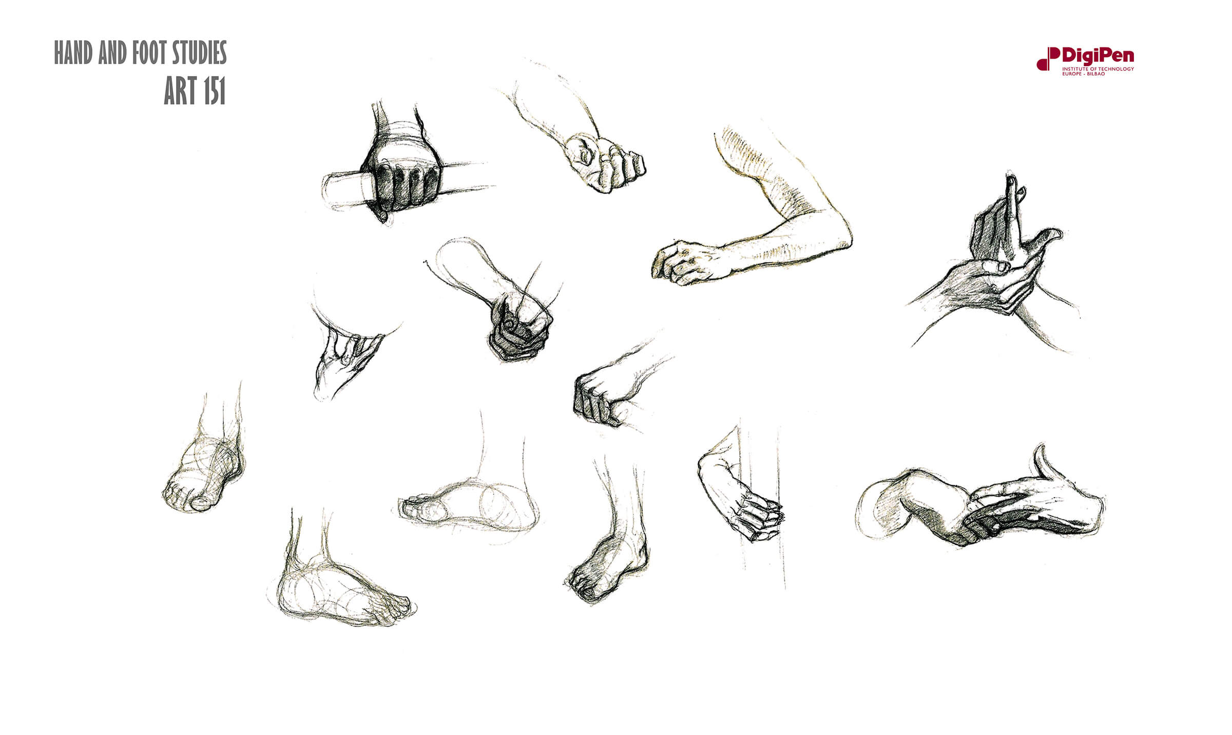 Black-and-white sketches of hands, arms, and feet in different poses, grasping and extending.