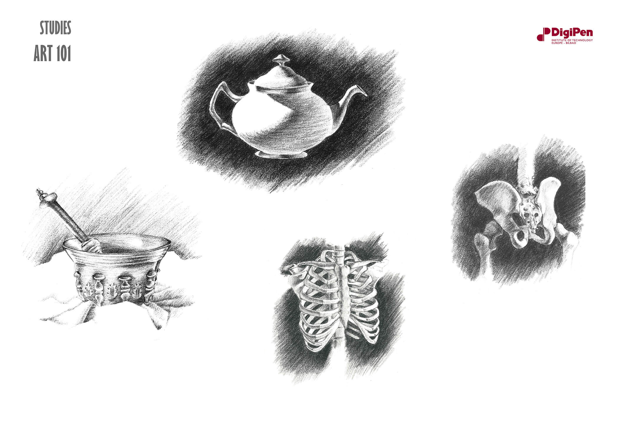 Black-and-white sketches of a teapot, chalice, human ribcage and pelvic bone.