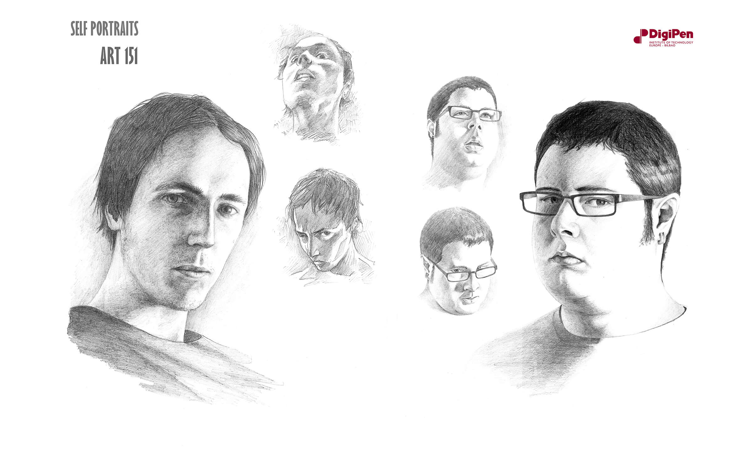 Black-and-white self portraits of two male artists' faces from different angles, one wears glasses and two earrings.