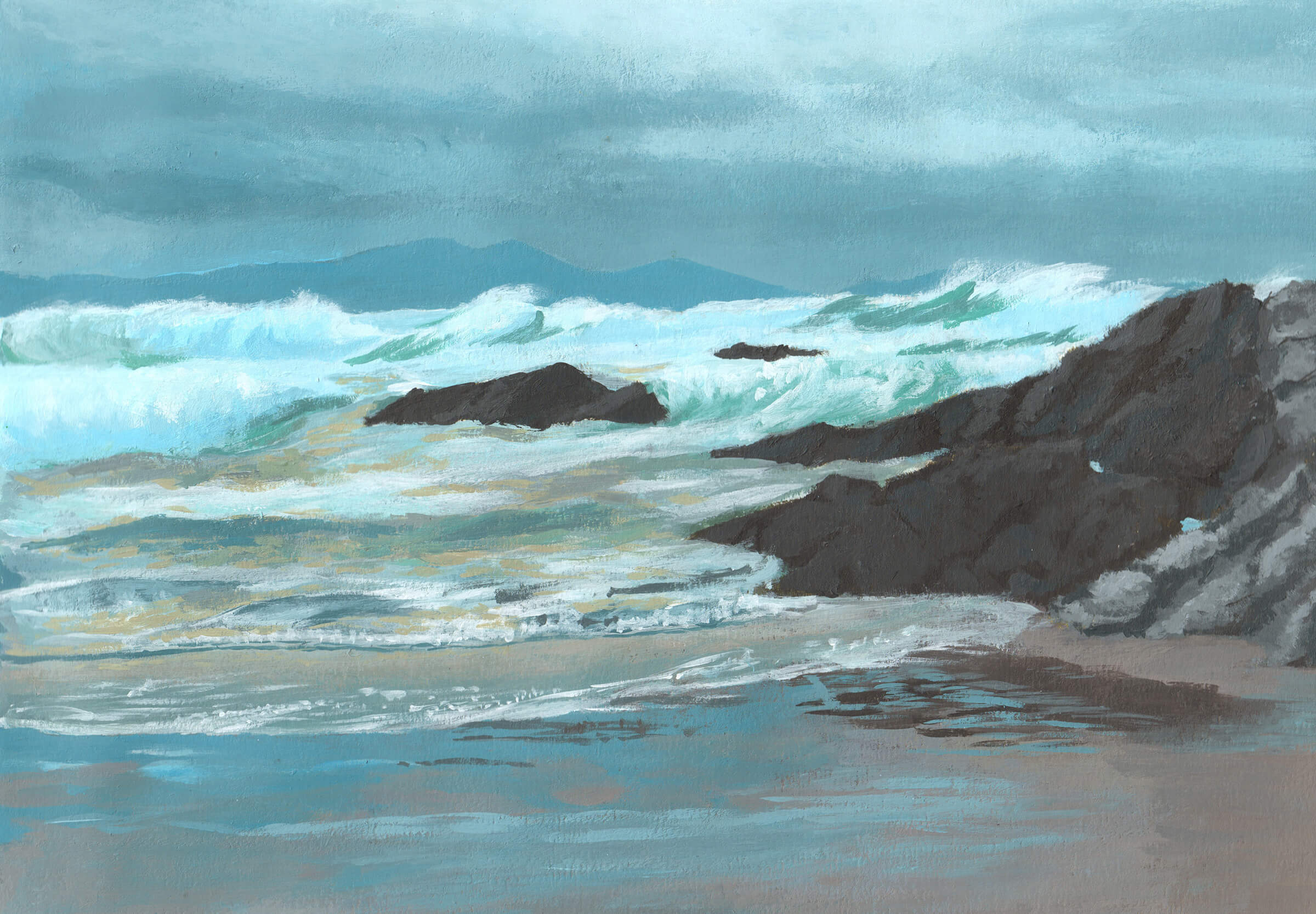 Landscape painting of an ocean shore with choppy white waves crashing against dark gray rocks against a dark cloudy sky.