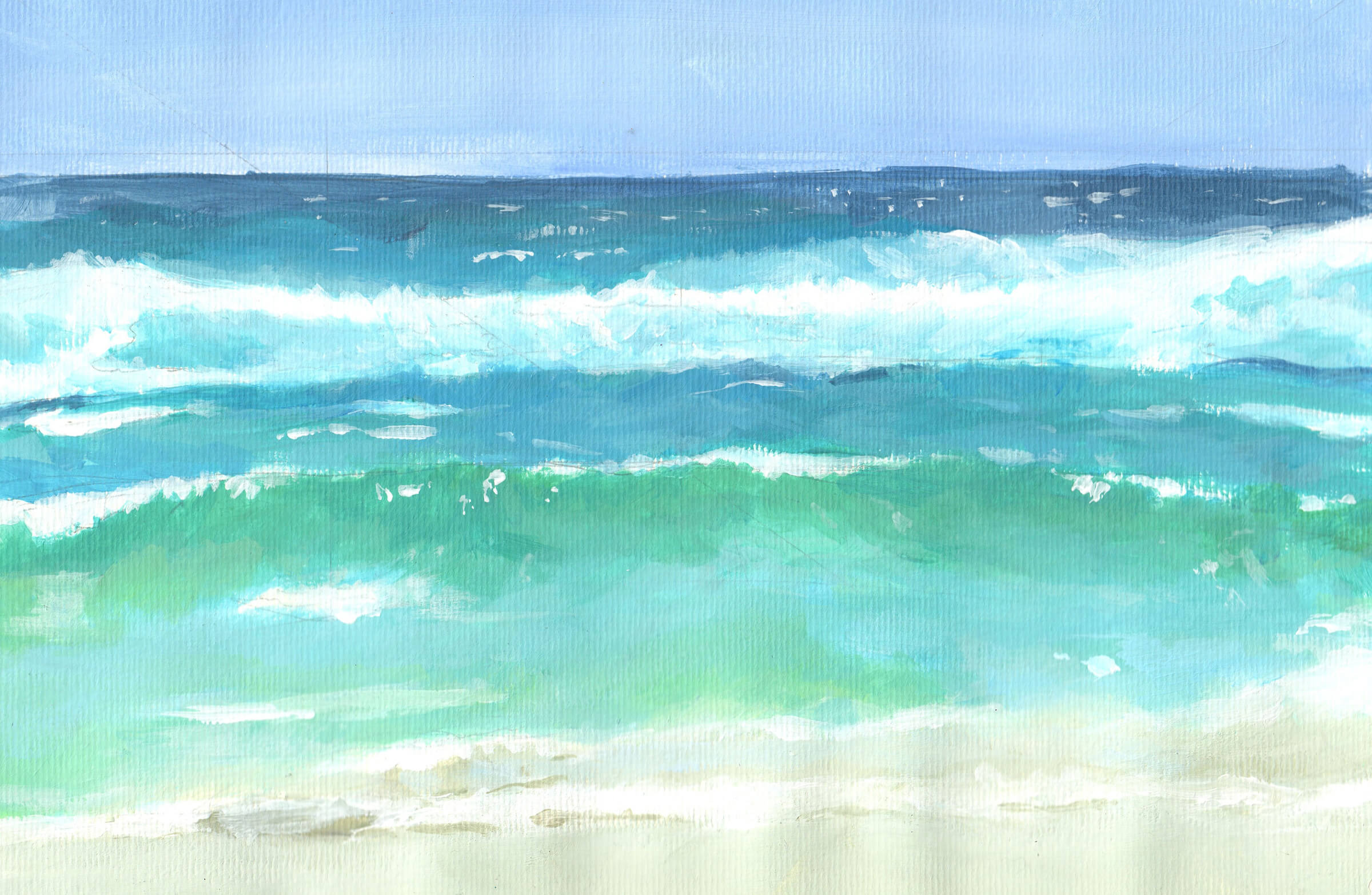 Landscape painting of waves cresting toward the viewer on a sandy beach. Hues of blue get darker the further out one looks.
