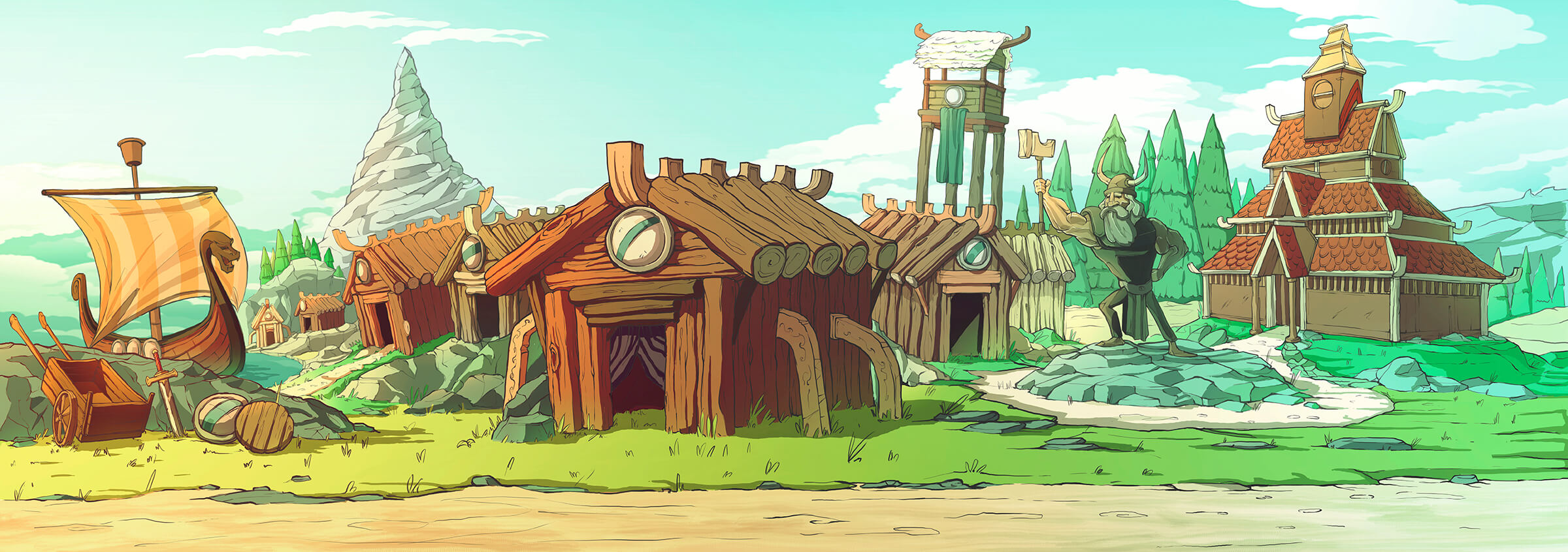 Cartoon-style depiction of an ancient viking village with wooden huts, a longboat, and a statue of a hammer-wielding warrior.