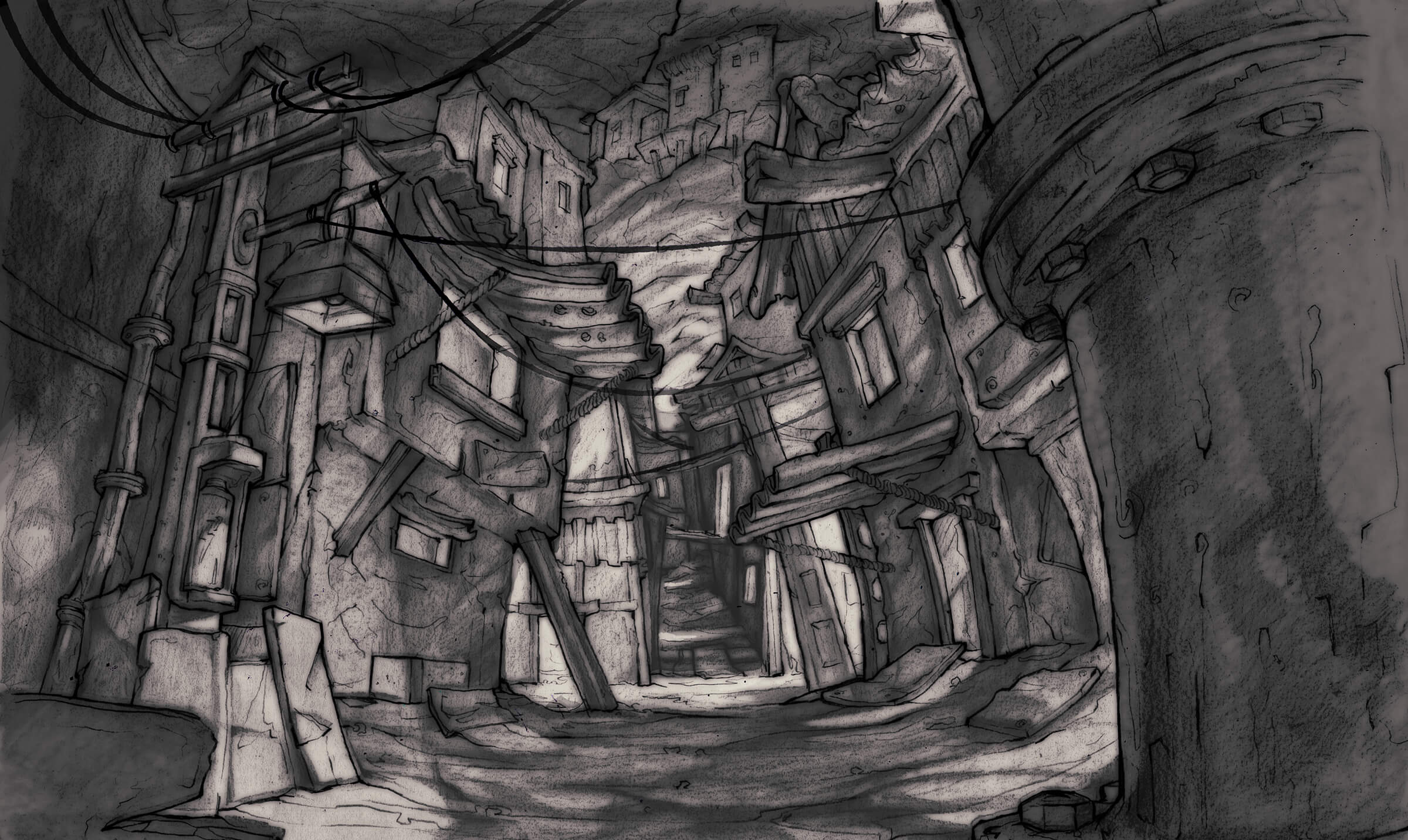 Black-and-white drawing of a dimly lit, narrow alley through a dilapidated cityscape built underground.
