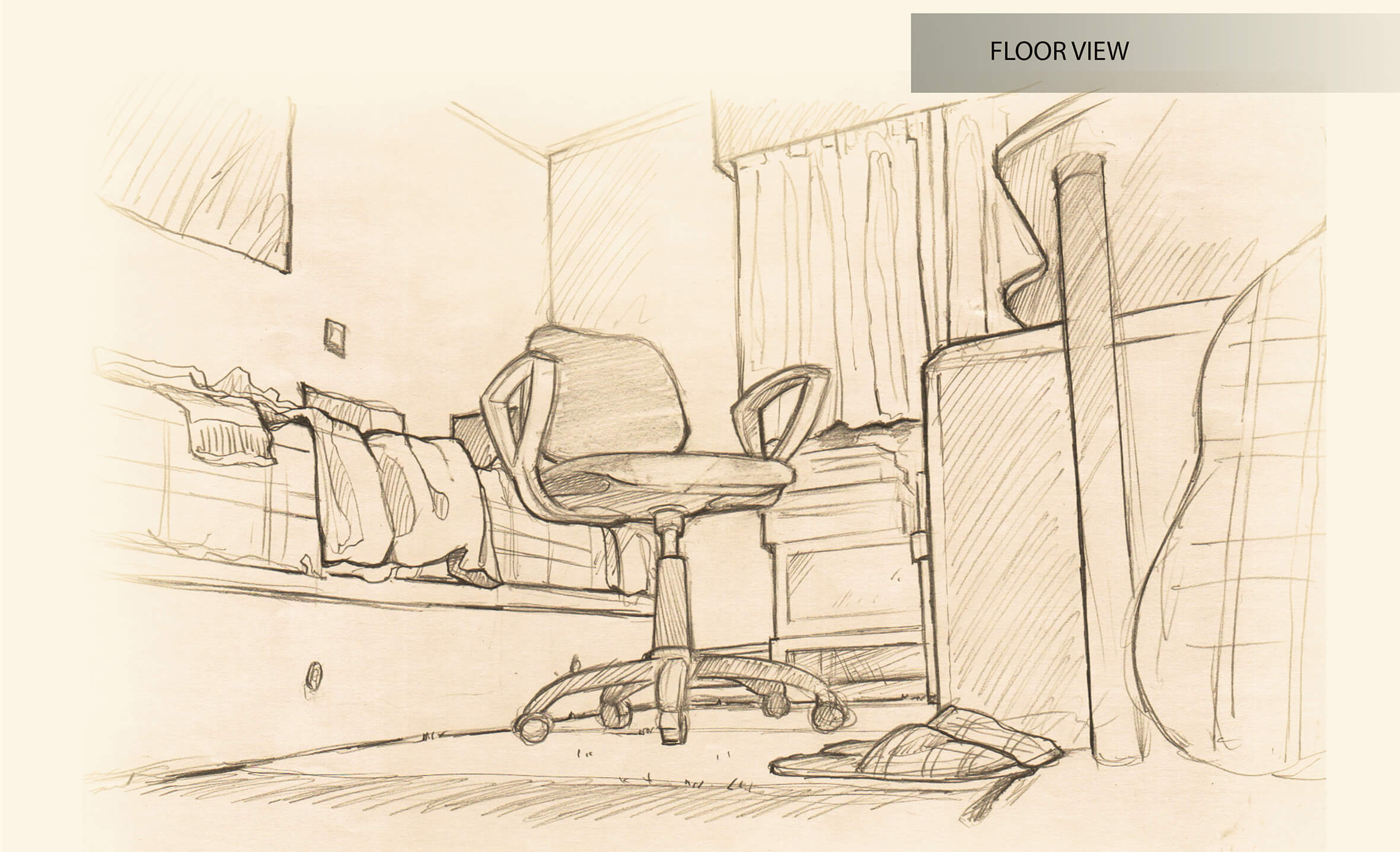 Black-and-white view of a sketched bedroom seen from the floor. A wheeled computer chair is the focus of the piece.