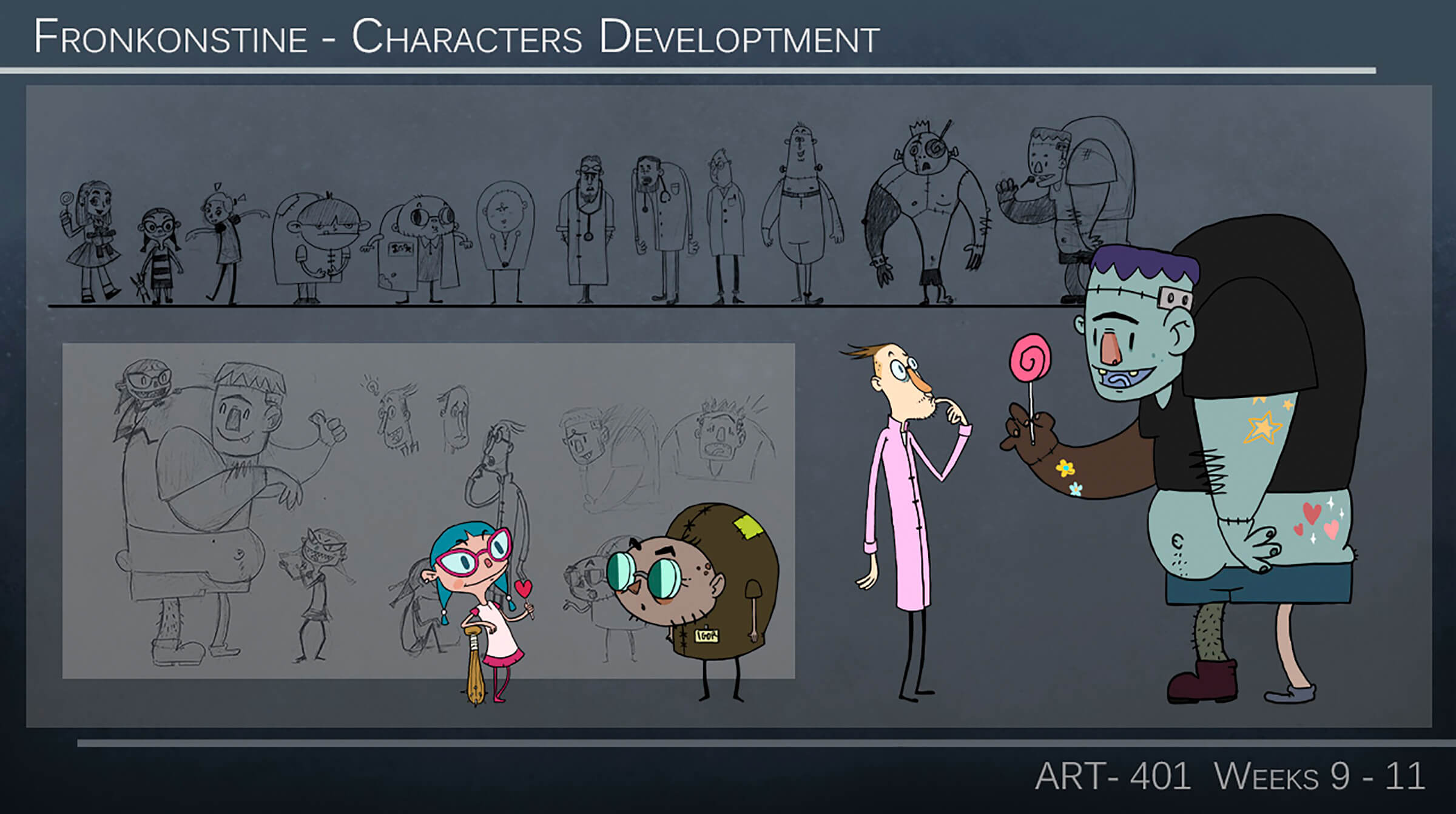 Concept sketches of a young girl, a scientist and his short assistant, and a friendly Frankenstein Monster holding a lollipop