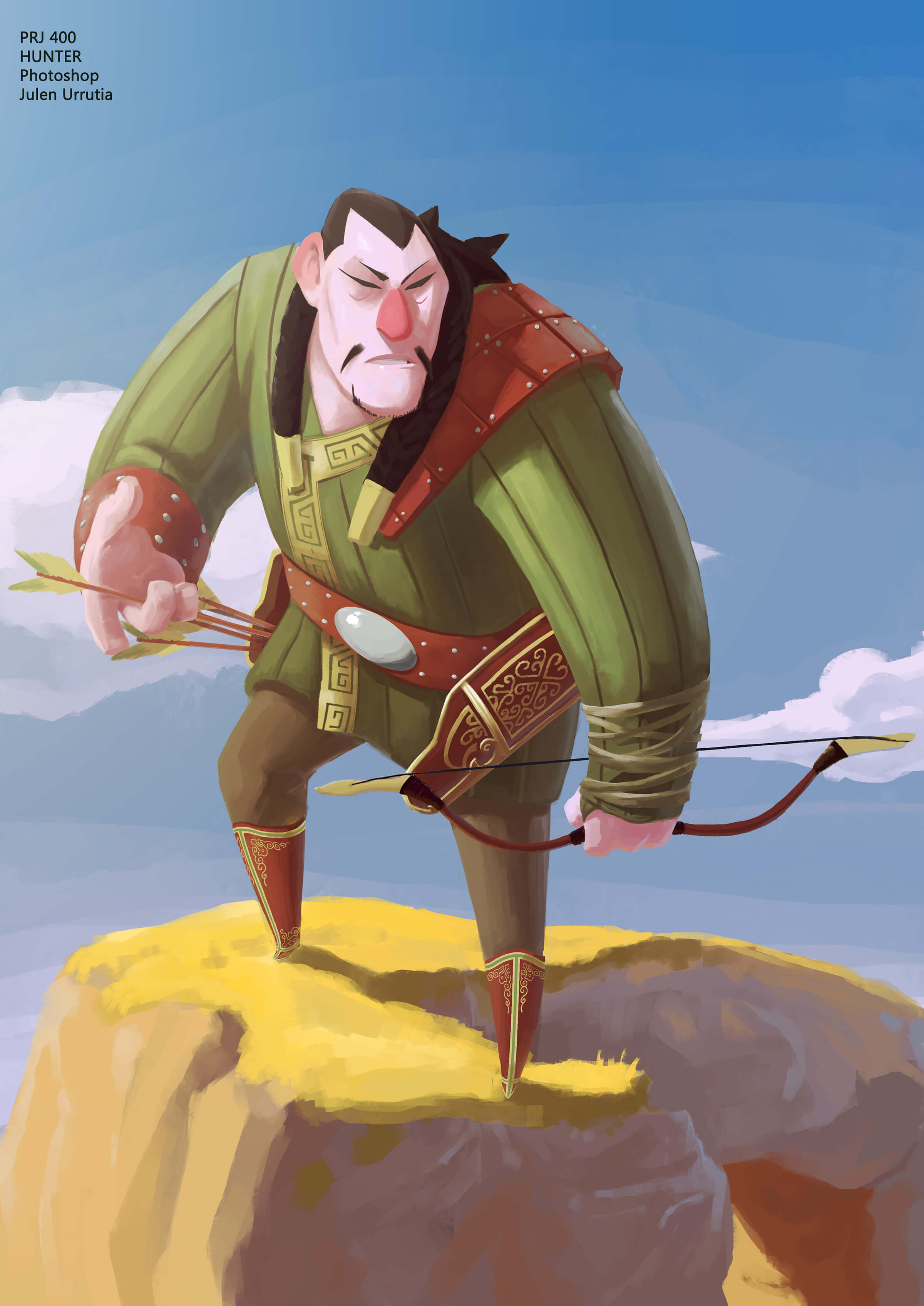 A hulking hunter in traditional dress stands atop a rock looking down as he draws an arrow to shoot with his bow.