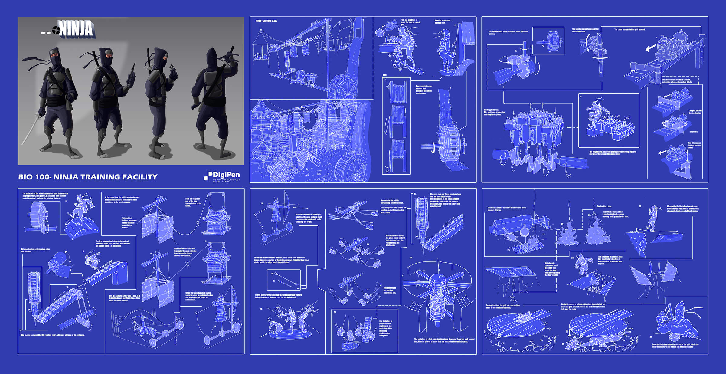 Blueprints of elaborate mechanical traps and several angles of a black-clad ninja hoping to elude them.