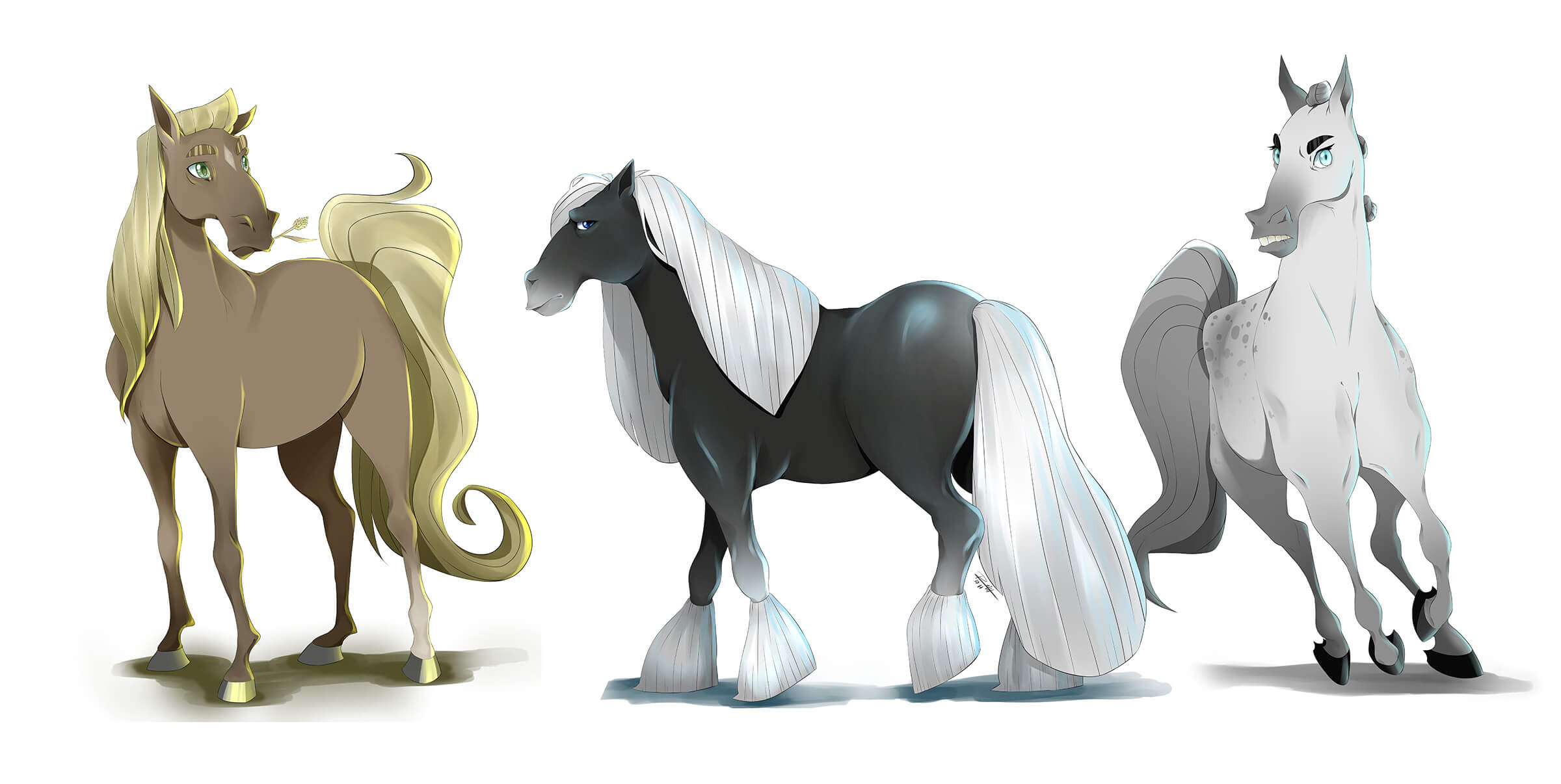 Digital painting of a brown, black, and white horse in cartoon stylization seen from various angles.
