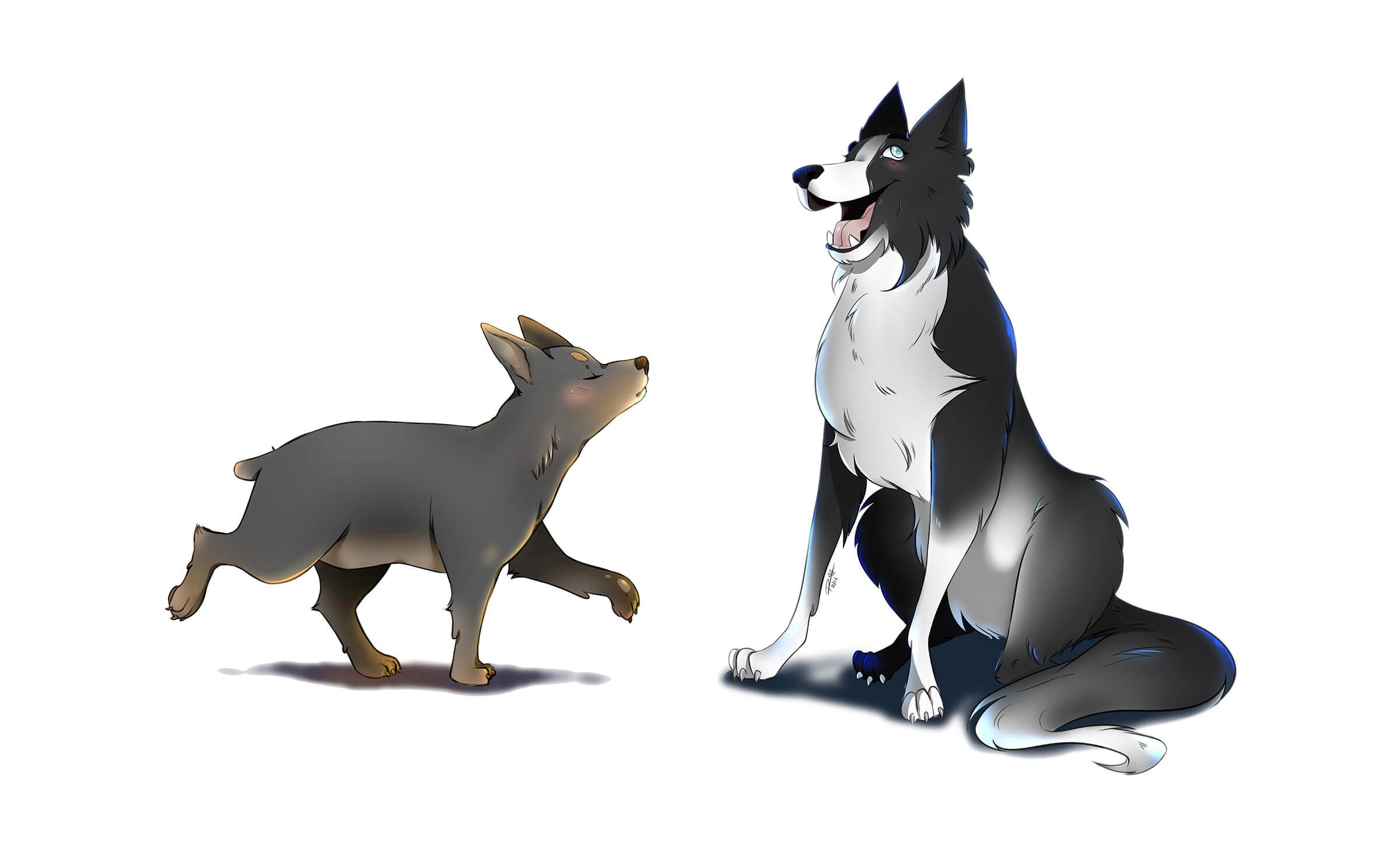 Digital painting of two cartoon dogs, a brown dog trotting aloof, and a black-and-white dog happily sitting.