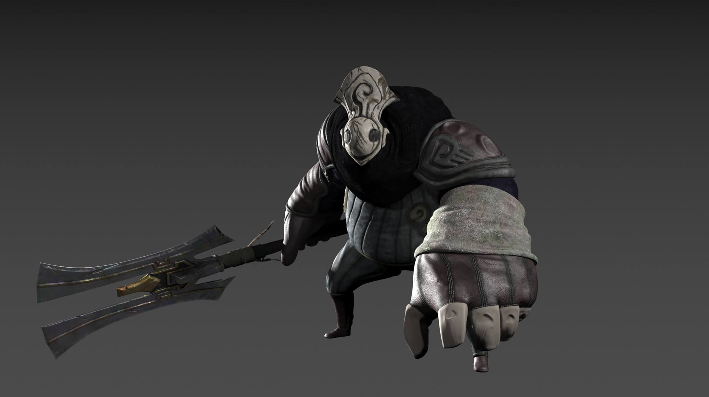 A stocky CG character in cloth battle gear and weathered gray mask holds a large, two-pronged melee weapon at its side.